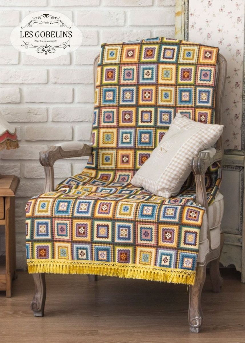 Покрывало на кресло Les Gobelins Labyrinthe, 50 х 120 смES-412Покрывало на кресло Les Gobelins Labyrinthe с ярким геометрическим рисунком привлечет к себе внимание и органично впишется в интерьер комнаты. Изделие изготовлено из высококачественной ткани гобелен и оформлено бахромой и кисточками. Необычайная красота сочетается в этом покрывале с высокой прочностью и долговечностью, а свойство гобелена по-разному проявлять себя в зависимости от освещения помещения позволяет открывать все новые и новые детали, которые, как казалось, раньше скрывал гобелен.Красочное и приятное на ощупь покрывало сделает интерьер спальни, детской или гостиной уютнее и своеобразнее. Состав материала: 52% хлопок, 48% полиэстер.