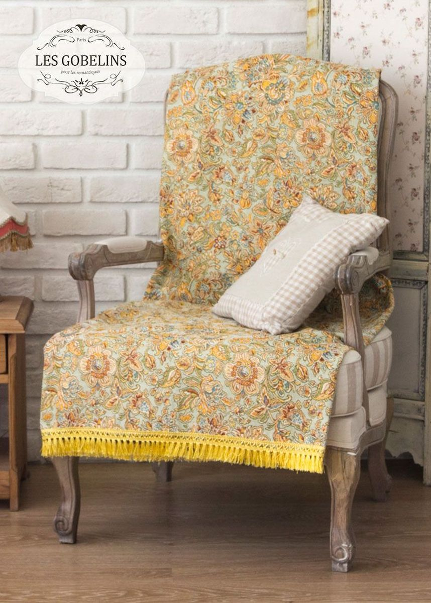 Покрывало на кресло Les Gobelins Vitrail De Printemps, 50 х 120 см4630003364517Покрывало на кресло Les Gobelins Vitrail De Printemps с ярким цветочным рисунком привлечет к себе внимание и органично впишется в интерьер комнаты. Изделие изготовлено из высококачественной ткани гобелен и оформлено бахромой и кисточками. Необычайная красота сочетается в этом покрывале с высокой прочностью и долговечностью, а свойство гобелена по-разному проявлять себя в зависимости от освещения помещения позволяет открывать все новые и новые детали, которые, как казалось, раньше скрывал гобелен.Красочное и приятное на ощупь покрывало сделает интерьер спальни, детской или гостиной уютнее и своеобразнее. Состав материала: 52% хлопок, 48% полиэстер.