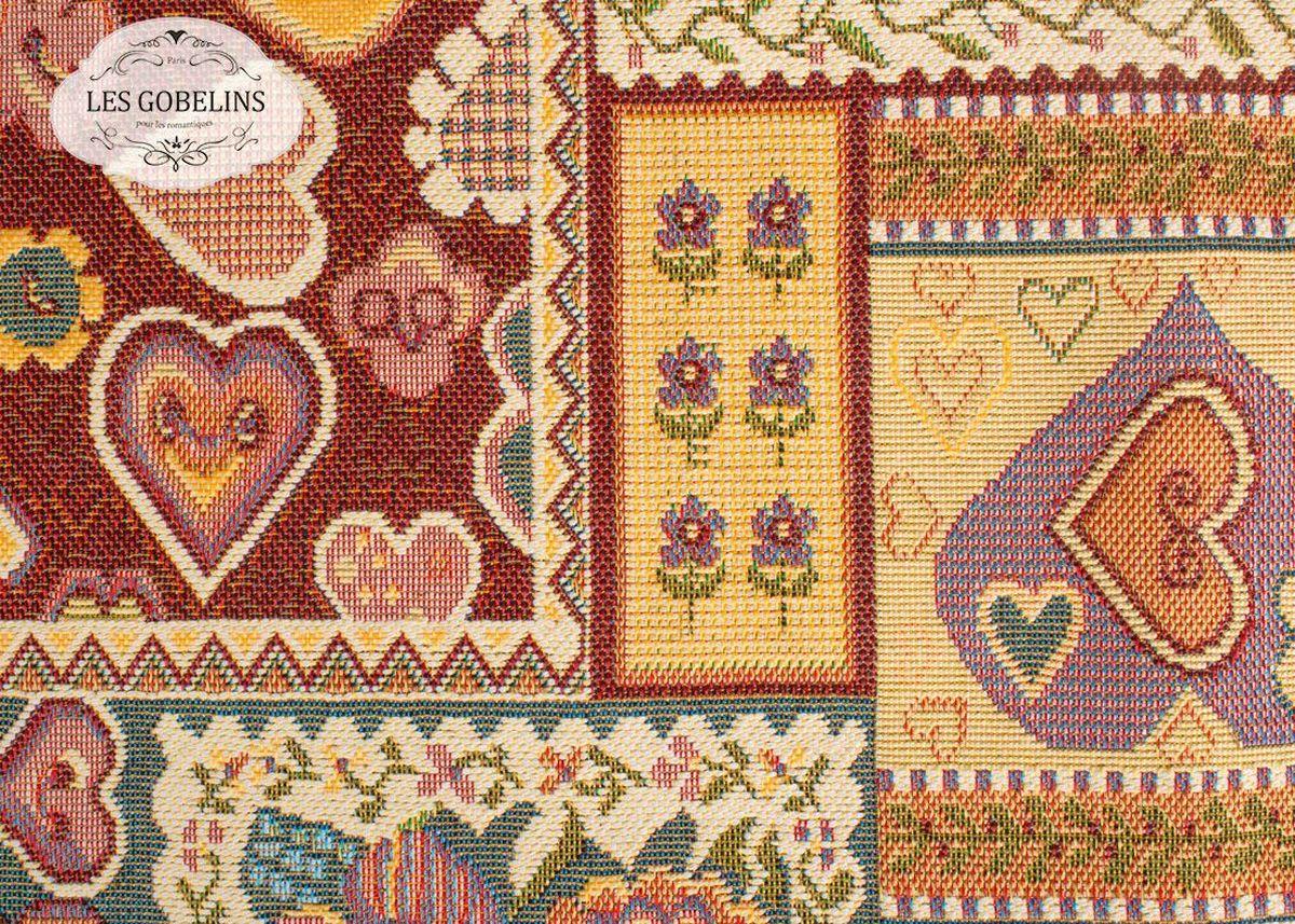 Покрывало на диван Les Gobelins Coeurs Espagnol, 160 х 200 см68/5/3Покрывало на диван Les Gobelins Coeurs Espagnol с ярким рисунком привлечет к себе внимание и органично впишется в интерьер комнаты. Изделие изготовлено из высококачественной ткани гобелен и оформлено бахромой и кисточками. Необычайная красота сочетается в этом покрывале с высокой прочностью и долговечностью, а свойство гобелена по-разному проявлять себя в зависимости от освещения помещения позволяет открывать все новые и новые детали, которые, как казалось, раньше скрывал гобелен.Красочное и приятное на ощупь покрывало сделает интерьер спальни, детской или гостиной уютнее и своеобразнее. Состав материала: 52% хлопок, 48% полиэстер.
