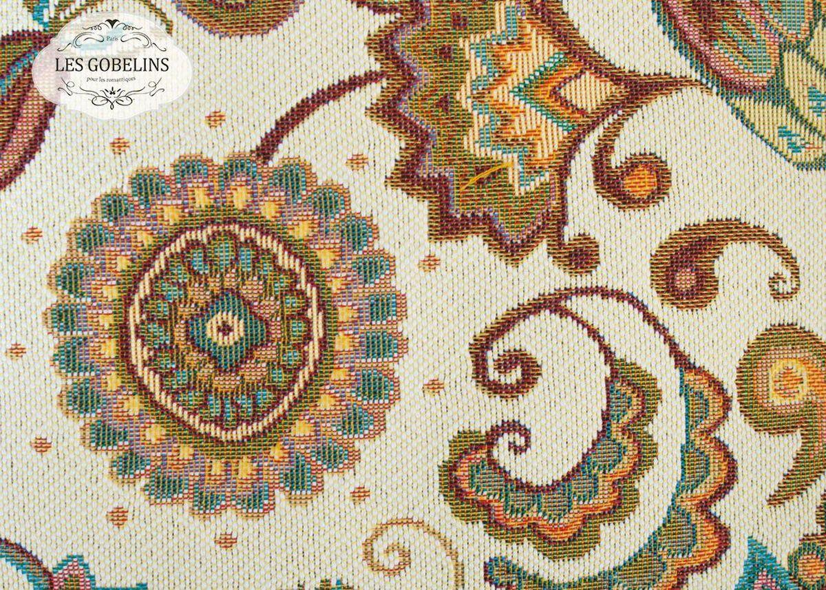 Покрывало на диван Les Gobelins Ete Indien, 160 х 200 смWUB 5647 weisПокрывало на диван Les Gobelins Ete Indien с ярким орнаментом привлечет к себе внимание и органично впишется в интерьер комнаты. Изделие изготовлено из высококачественной ткани гобелен и оформлено бахромой и кисточками. Необычайная красота сочетается в этом покрывале с высокой прочностью и долговечностью, а свойство гобелена по-разному проявлять себя в зависимости от освещения помещения позволяет открывать все новые и новые детали, которые, как казалось, раньше скрывал гобелен.Красочное и приятное на ощупь покрывало сделает интерьер спальни, детской или гостиной уютнее и своеобразнее. Состав материала: 5% хлопок, 95% полиэстер.