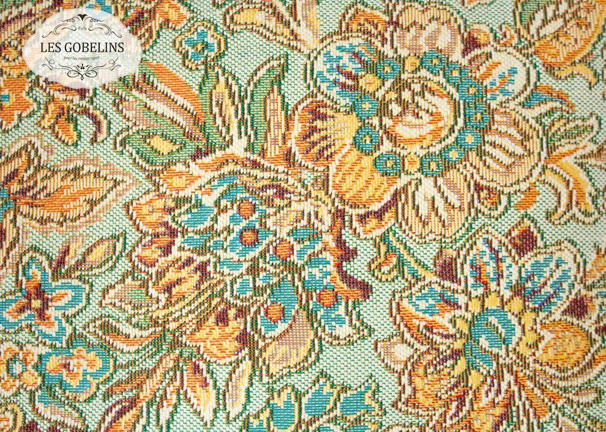 Покрывало на диван Les Gobelins Vitrail De Printemps, 160 х 230 смД Дачно-Деревенский 20Покрывало на диван Les Gobelins Vitrail De Printemps с ярким цветочным рисунком привлечет к себе внимание и органично впишется в интерьер комнаты. Изделие изготовлено из высококачественной ткани гобелен и оформлено бахромой и кисточками. Необычайная красота сочетается в этом покрывале с высокой прочностью и долговечностью, а свойство гобелена по-разному проявлять себя в зависимости от освещения помещения позволяет открывать все новые и новые детали, которые, как казалось, раньше скрывал гобелен.Красочное и приятное на ощупь покрывало сделает интерьер спальни, детской или гостиной уютнее и своеобразнее. Состав материала: 52% хлопок, 48% полиэстер.