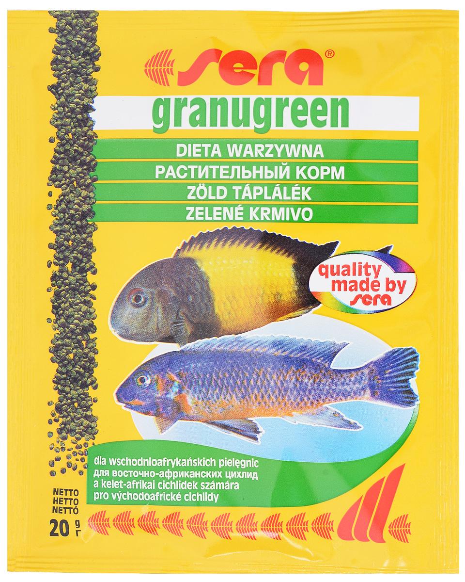 Корм для рыб Sera Granugreen, 20 г0120710Sera Granugreen - основной корм, предназначенный для предназначен для цихпид, которые преимущественно питаются растениями и перифитоном. Состоит из гранул, произведенных путем бережной обработки сырья. Сбалансированный состав растительных компонентов, таких как водоросль спирулина и шпинат, способствует здоровому пищеварению и оптимальному формированию яркости и насыщенности окраски цихпид. Медленно тонущие гранулы, надолго сохраняют свою форму в воде, не загрязняя её. Ингредиенты: рыбная мука, кукурузный крахмал, пшеничная клейковина, пшеничная мука, пшеничные зародыши, пивные дрожжи, рыбий жир (в том числе 49% Омега жирных кислот), петрушка, спирулина (1,7%), крапива, растительное сьрье, люцерна, маннанолигосахариды (0,4%), морские водоросли, паприка, шпинат, морковь, зеленые мидии, водоросль гематококкус, чеснок. Аналитический состав: протеин 38,9%, жиры 8,5%, клетчатка 4,8%, влажностъ 5,0%, зольные вещества 5,3%. Содержание добавок: витамин A - 30.000 МЕ/кг, витамин D3 - 1.500 МЕ/кг, витамин E (D, L-o-tocopheryl acetate) - 60 мг/кг, витамин B1 - 30 мг/кг, витамин B - 90 мг/кг, стабилизированный витамин С (L-ascoibyl monophosphate) - 550 мг/кг.Уважаемые клиенты!Обращаем ваше внимание на возможные изменения в дизайне упаковки. Качественные характеристики товара остаются неизменными. Поставка осуществляется в зависимости от наличия на складе.