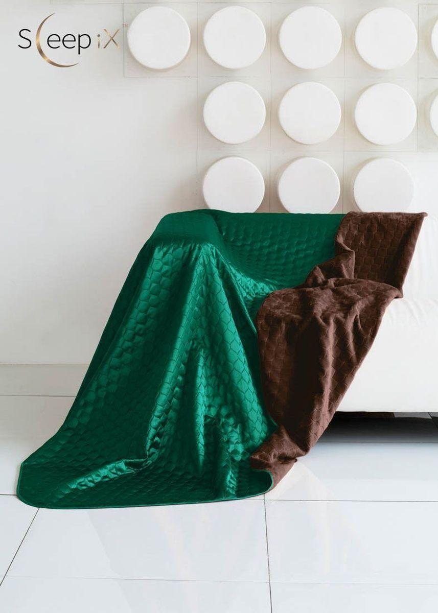 Покрывало Sleep iX Shinen Soft, цвет: коричневый, зеленый, 200 х 220 см. maa21481610503Покрывало Sleep iX Shinen Soft двухстороннее, поэтому можно использовать как плед. Оно выполнено с одной стороны из искусственного меха, с другой - из атласного шелка. Имеет кант и отделано стежкой. Это покрывало (плед) станет ярким акцентом в интерьере. Размер покрывала: 200 х 220 см.Наполнитель: Синтепон.Состав: 100% полиэстер.