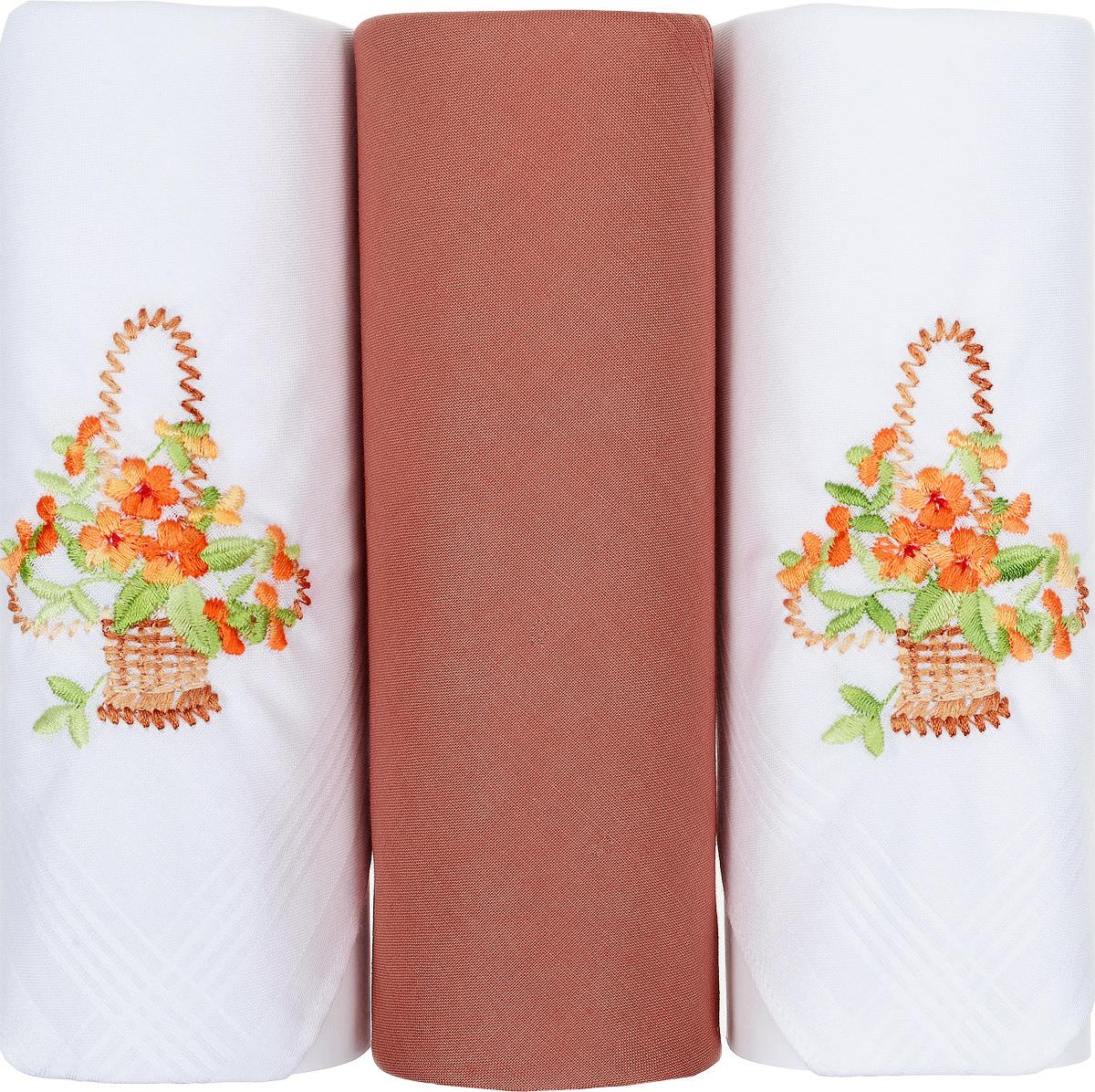 Платок носовой женский Zlata Korunka, цвет: белый, оранжевый, 3 шт. 25605-15. Размер 30 см х 30 смСерьги с подвескамиНебольшой женский носовой платок Zlata Korunka изготовлен из высококачественного натурального хлопка, благодаря чему приятен в использовании, хорошо стирается, не садится и отлично впитывает влагу. Практичный и изящный носовой платок будет незаменим в повседневной жизни любого современного человека. Такой платок послужит стильным аксессуаром и подчеркнет ваше превосходное чувство вкуса.В комплекте 3 платка.