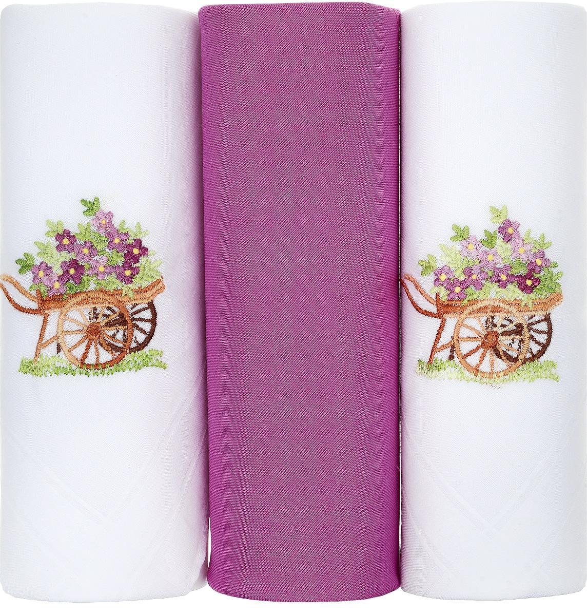 Платок носовой женский Zlata Korunka, цвет: белый, фуксия, 3 шт. 25605-11. Размер 30 см х 30 см39864 Серьги с подвескамиНебольшой женский носовой платок Zlata Korunka изготовлен из высококачественного натурального хлопка, благодаря чему приятен в использовании, хорошо стирается, не садится и отлично впитывает влагу. Практичный и изящный носовой платок будет незаменим в повседневной жизни любого современного человека. Такой платок послужит стильным аксессуаром и подчеркнет ваше превосходное чувство вкуса.В комплекте 3 платка.