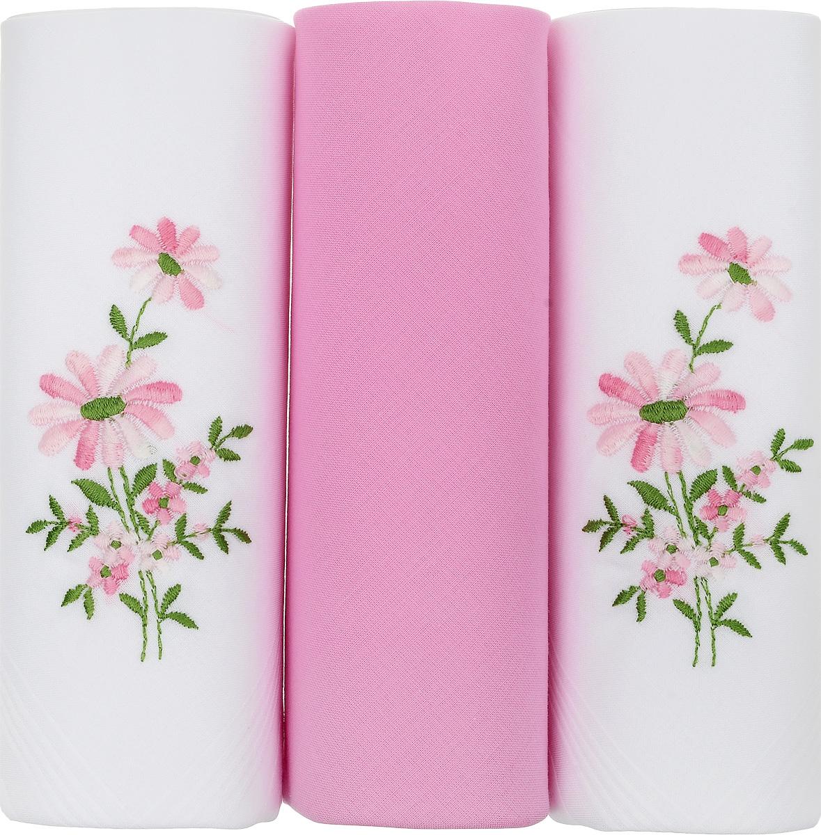 Платок носовой женский Zlata Korunka, цвет: белый, розовый, 3 шт. 25605-18. Размер 30 см х 30 смСерьги с подвескамиНебольшой женский носовой платок Zlata Korunka изготовлен из высококачественного натурального хлопка, благодаря чему приятен в использовании, хорошо стирается, не садится и отлично впитывает влагу. Практичный и изящный носовой платок будет незаменим в повседневной жизни любого современного человека. Такой платок послужит стильным аксессуаром и подчеркнет ваше превосходное чувство вкуса.В комплекте 3 платка.