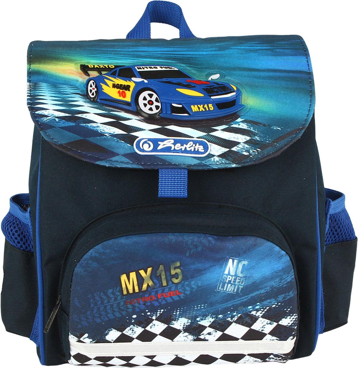 Herlitz Рюкзак дошкольный Softbag Super Race72523WDДошкольный рюкзак Herlitz Softbag Super Race - это идеальная модель, разработанная специально для детей от 6 лет.Рюкзак имеет одно вместительное отделение, закрывающееся клапаном на липучку. На лицевой стороне рюкзака находится накладной карман на застежке-молнии, а по бокам - два открытых накладных кармашка.Спинка, выполненная по специальной технологии из дышащего материала, равномерно распределяет нагрузку на плечи и спину ребенка. В нижней части спинки расположен поясничный упор - небольшой валик, на который при правильном ношении рюкзака будет приходиться основная нагрузка.Изделие оснащено удобной текстильной ручкой для переноски в руке и анатомическими лямками, которые можно регулировать по длине.Рюкзак дополнен светоотражающими элементами.