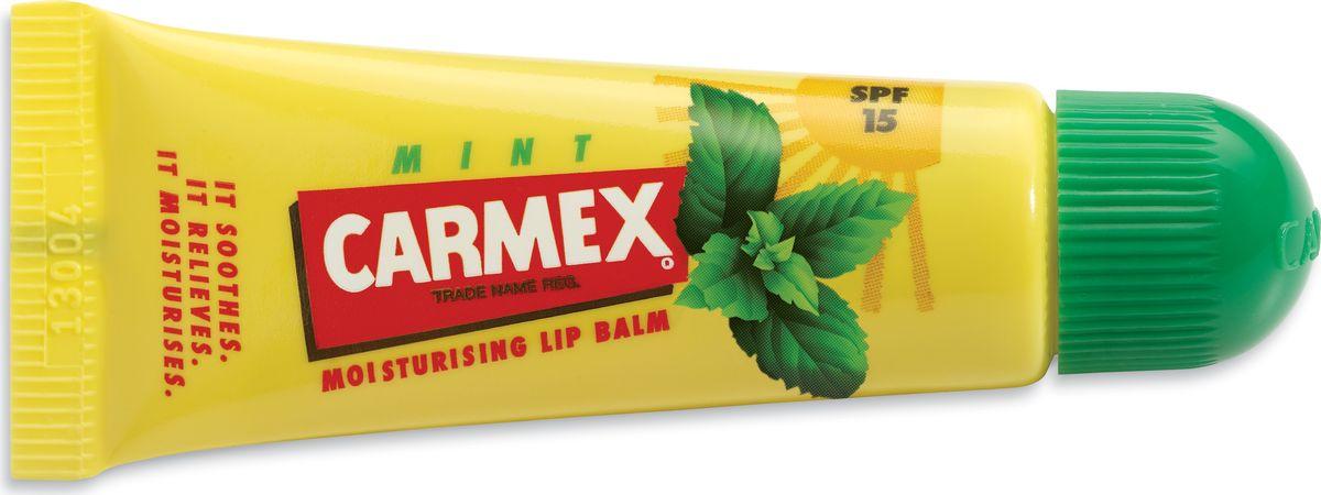 Carmex Бальзам для губ с ароматом мяты с защитой от воздействия ультрафиолета SPF15, туба в блистереFS-00897Солнцезащитный и увлажняющий бальзам для губ CARMEX, SPF 15 с запахом мяты