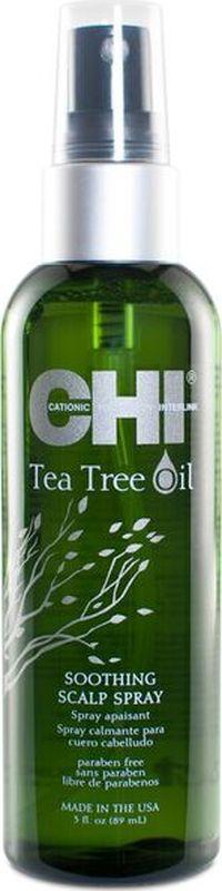 CHI Успокаивающий спрей с маслом чайного дерева для кожи головы, 89млMP59.4DСпрей Успокаивающий кожу головы, который мгновенно помогает облегчить зуд, раздражение и сухость кожи головы.