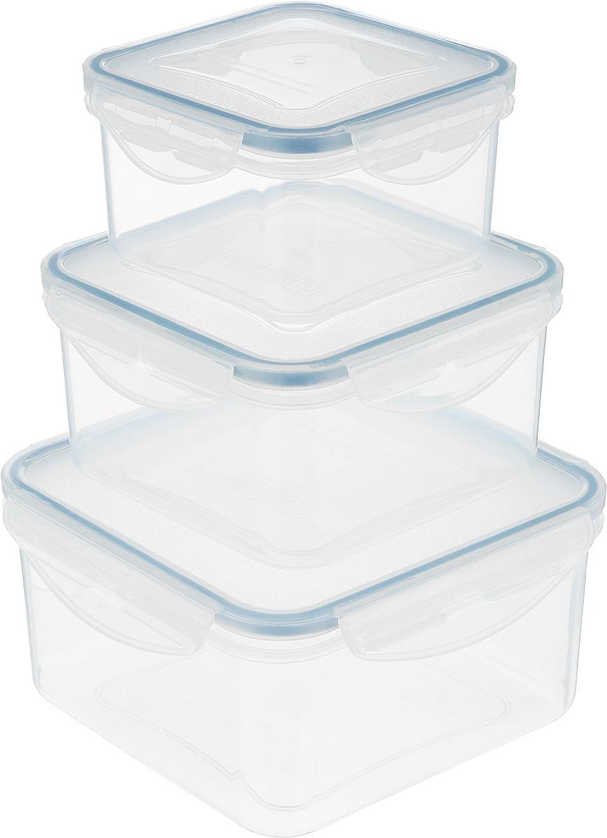 Контейнер Tescoma Freshbox, 3 шт. 892040VT-1520(SR)Набор пластиковых контейнеров Tescoma Freshbox подходит для переноски и хранения любых продуктов питания. Благодаря многообразию объемов, вы можете подобрать свой. Изделия абсолютно герметичны, способны выдержать сильные перепады температур. Пластик и силикон, из которых изготовлены контейнеры, переносят экстремальные температурные режимы в диапазоне от -18°C до +110°C. Такие контейнеры оптимально сохраняют вкус, аромат и внешний вид продуктов.Подходят для холодильника, морозильных камер, микроволновой печи и посудомоечной машины.Размер контейнеров (с учетом крышек): 10,5 х 10,5 х 6 см; 12,5 х 12,5 х 6,5 см; 15,5 х 15,5 х 8 см.Объем контейнеров: 0,4 л; 0,7 л; 1,2 л.