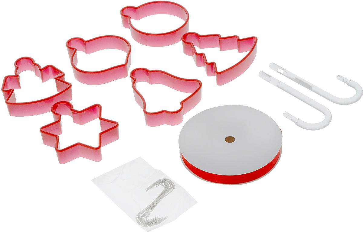 Набор форм для печенья Tescoma Delicia. Адвентный календарь, 6 штРАД14457898_желтыйФормочки для вырезания печенья Tescoma Delicia. Адвентный календарь, изготовленные из высококачественного пластика, отлично подойдут для изготовления оригинального пряничного календаря и для приготовления традиционного рождественского печенья. В набор входят 6 двухсторонних формочек, с помощью которых можно вырезать в различной форме печенье. Изделие прекрасно подходит для вырезания печенья разных размеров из песочного и пряничного теста.С помощью таких формочек вы без труда приготовите оригинальное печенье, которое наверняка порадует и удивит гостей. Можно использовать формочки как трафареты для поделок из соленого теста или пластилина.В комплект входит также красная лента, крючки, сделанные из стали, и зажим для хранения формочек. Зажим также служит для проделывания отверстий в пряниках.Инструкция по применению рецепт внутри упаковки. Можно мыть в посудомоечной машине. Средняя длина формочек: 8 см. Длина ленты: 5 м, Количество крючков: 30 шт.