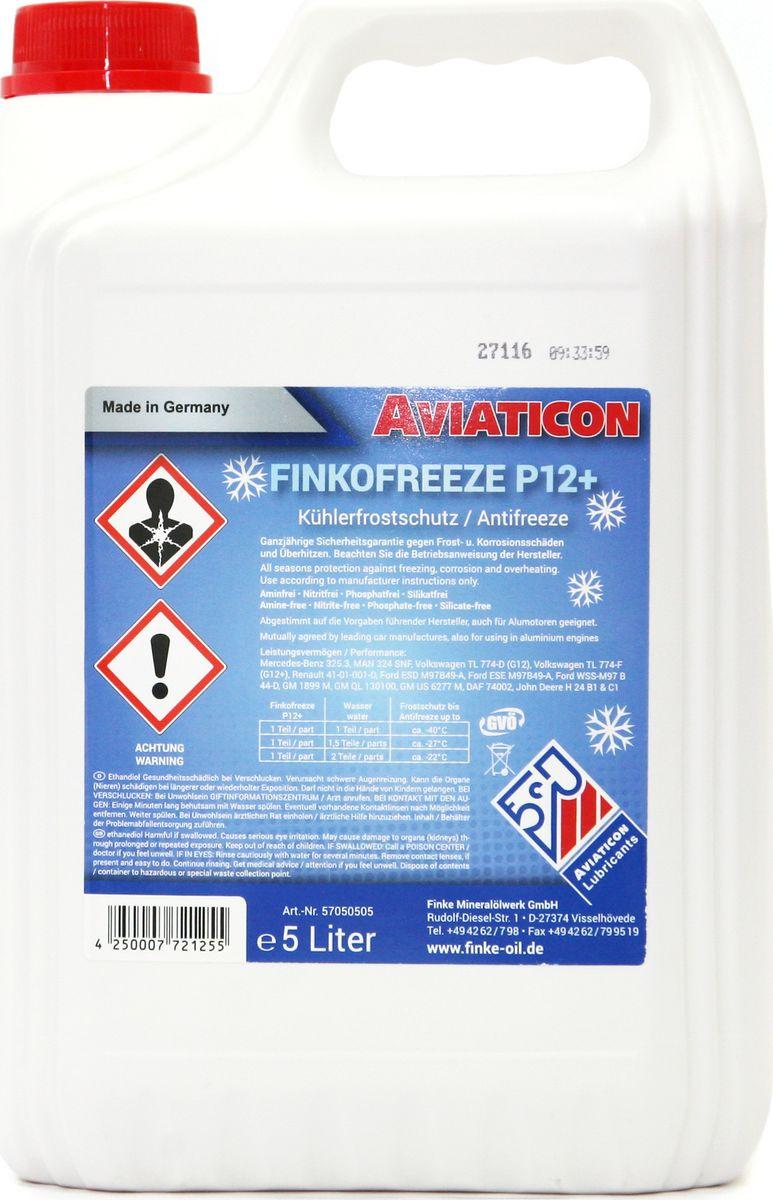 Антифриз Finke Aviaticon Finkofreeze P12+, 5 лZ-0307Finke AVIATICON Finkofreeze P12+ - это концентрированный антифриз на основе этиленгликоля, содержащий пакет присадок, произведенных по OAT-технологии (Organic Acid Technology), в составе которого нет нитритов, аминов и фосфатов. Идеально подходит для алюминиевых двигателей и позволяет увеличить интервал замены до пяти лет. Антифриз должен быть разбавлен дистиллированной водой перед использованием в системе охлаждения. Предотвращает повреждения от замерзания и коррозии в системах охлаждения двигателей внутреннего сгорания, а также кавитацию в насосах. При этом неорганические и органические ингибиторы отвечают за защиту от коррозии системы охлаждения. Finke AVIATICON Finkofreeze P12+ обеспечивает надежную защиту от коррозии обычные и алюминиевые двигатели легковых автомобилей - до 250000 км, двигатели коммерческих автомобилей и автобусов - до 500000 км, в стационарных двигателях - до 16000 часов. Перед заменой антифриза в системах охлаждения, системах отопления и расширительных баках, следует слить старую жидкость и выполнить промывку соответствующей системы. Период эксплуатации не должен превышать 3-5 лет, поэтому необходимо соблюдать интервалы обслуживания транспортного средства или оборудования согласно инструкции эксплуатации производителя. Замечания по применению: Концентрат антифриза Finke AVIATICON Finkofreeze P12+ необходимо всегда смешивать с водой. Не используйте его в чистом виде. Убедитесь, что используете правильную воду (дистиллированную), в соответствии с условиями производителя. Обратите внимание на правильное соотношение смешивания. В случае каких-либо сомнений, используйте готовый раствор антифриза. Антифризы, произведенные по различным технологиям, не должны быть смешаны. Следуйте инструкциям изготовителя оборудования. Концентрация Finke AVIATICON Finkofreeze P12+ никогда не должна быть ниже 33% либо выше 60B&W D 36 5600; Cummins 85T8-2; Cummins 90T8-4; DAF 74002;Ford ESD M97B49-A; Ford ESE M97B49-