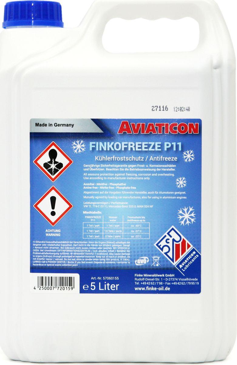 Антифриз Finke Aviaticon Finkofreeze P11, 5 лZ-0307AVIATICON Finkofreeze P11 - концентрированный антифриз на основе этиленгликоля, содержащий пакет присадок, а также произведенные по современным технологиям ингибиторы коррозии. Не содержит нитритов, аминов и фосфатов. Подходит для алюминиевых двигателей. Должен быть разбавлен дистиллированной водой перед использованием в системе охлаждения.Он используется в системах водяного охлаждения двигателей внутреннего сгорания, а также системах отопления с использованием солнечной энергии при условии, что материалы, используемые производителями данных систем, устойчивы к воздействию продуктов на основе этиленгликоля. Предотвращает повреждения от замерзания и коррозии в системах охлаждения двигателей внутреннего сгорания, а также кавитацию в насосах. При этом неорганические и органические ингибиторы отвечают за защиту от коррозии системы охлаждения. Перед заменой антифриза в системах охлаждения, системах отопления и расширительных баках, следует слить старую жидкость и выполнить промывку соответствующей системы. Период эксплуатации не должен превышать 2-х лет, поэтому необходимо соблюдать интервалы обслуживания транспортного средства или оборудования согласно инструкции эксплуатации производителя. Замечания по применению: Концентрат антифриза AVIATICON Finkofreeze P11 необходимо всегда смешивать с водой. Не используйте его в чистом виде. Убедитесь, что используете правильную воду (дистриллированную), в соответствии с условиями производителя. Обратите внимание на правильное соотношение смешивания. В случае каких-либо сомнений, используйте готовый раствор антифриза. Антифризы, произведенные по различным технологиям, не должны быть смешаны. Следуйте инструкциям изготовителя оборудования. Концентрация AVIATICON Finkofreeze P11 никогда не должна быть ниже 33% либо выше 60% Mercedes Benz 325.0; MAN 324 NF; Volkswagen G 11 TL 774-C, ASTM D 3306/D 4985 BS 6580:2010 AFNOR N FR 15-60