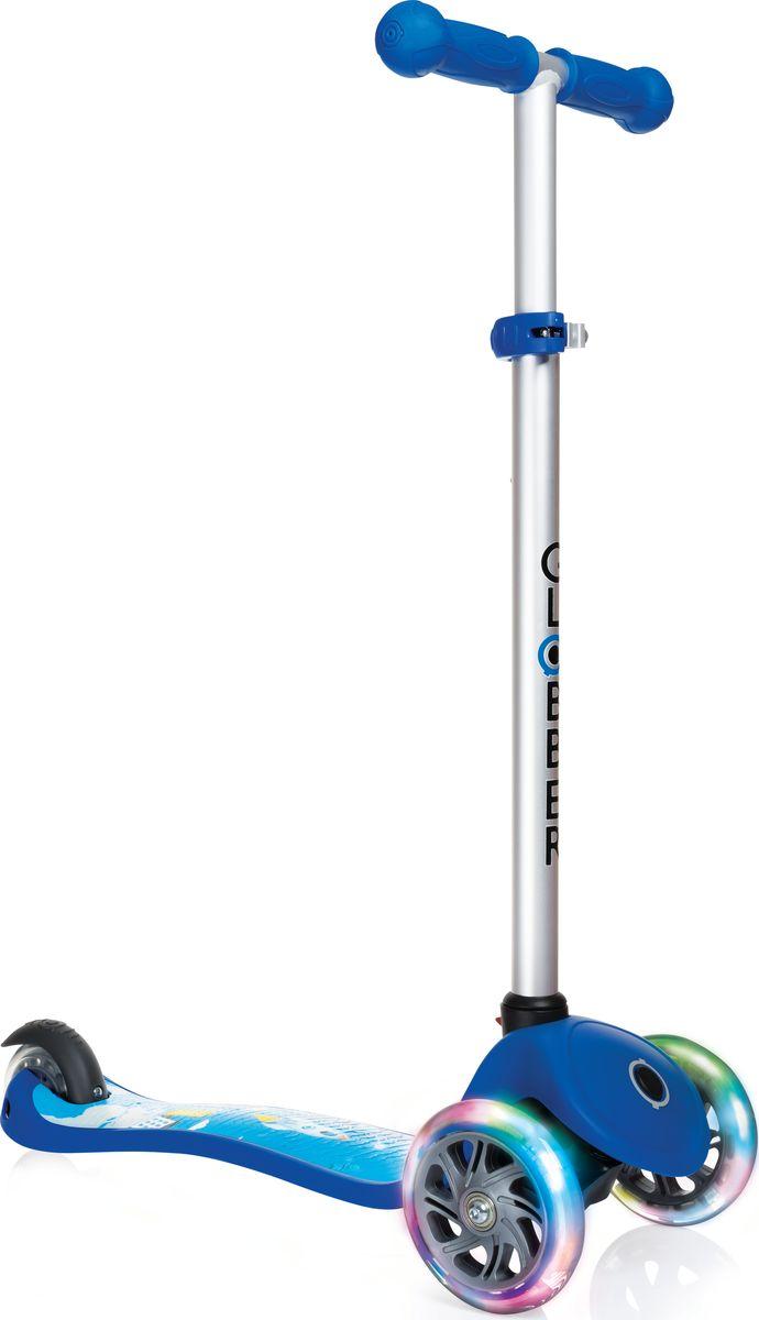 Самокат Globber My Free Fantasy, цвет: синий. 424-002WRA523700Регулируемый Primo Fantasy предназначенный для детей от 3 лет. Низкая дека обеспечивает безопасное обучение катанию. Укомплектован светящимися LED колесами.