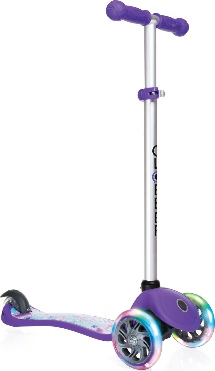 Самокат Globber My Free Fantasy, цвет: фиолетовый. 424-014Z90 blackРегулируемый Primo Fantasy предназначенный для детей от 3 лет. Низкая дека обеспечивает безопасное обучение катанию. Укомплектован светящимися LED колесами.