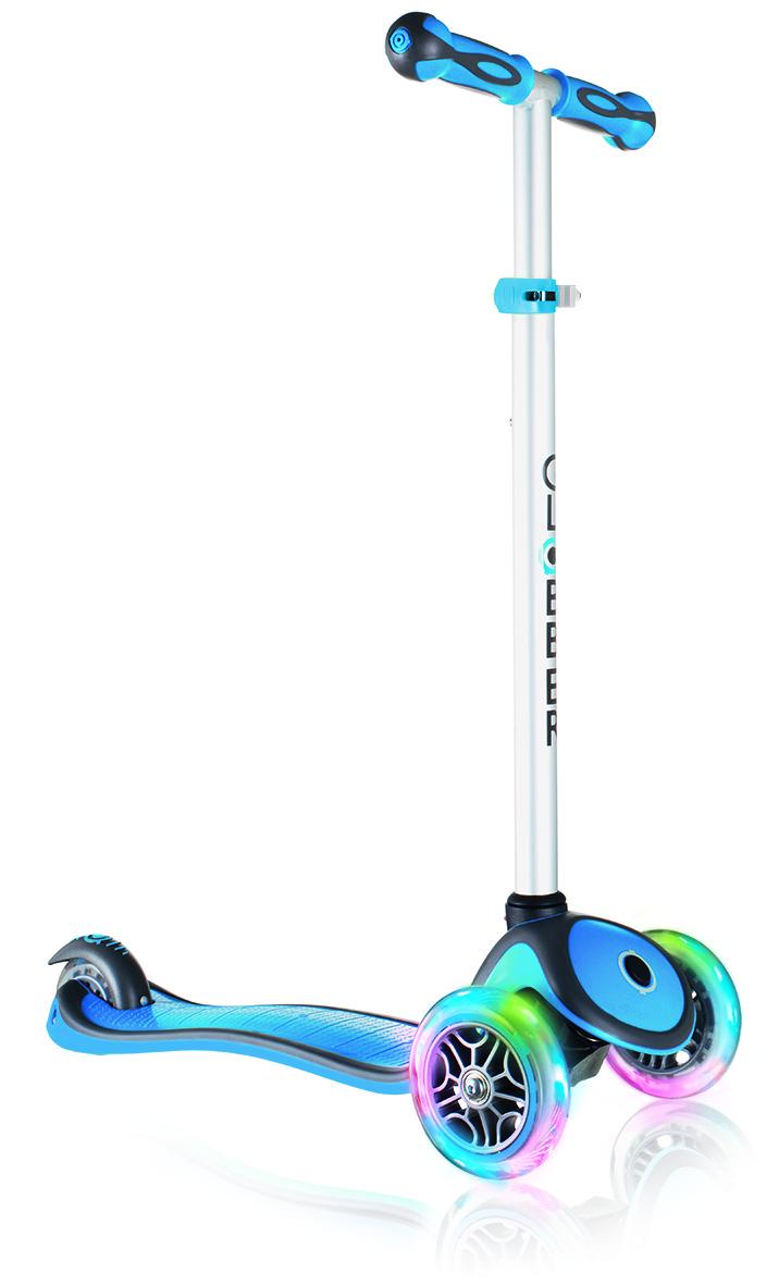 Самокат Globber My Free Up, цвет: синий. 442-101AIRWHEEL Q3-340WH-BLACKСамокат My Free Up оборудован алюминиевым рулем, можно легко подстраивать под рост ребенка. Подножка выполнена из двухкомпонентного армированного нейлона, колеса - из прозрачного высококачественного полиуретана, ручки из мягкой термопластичной резины.