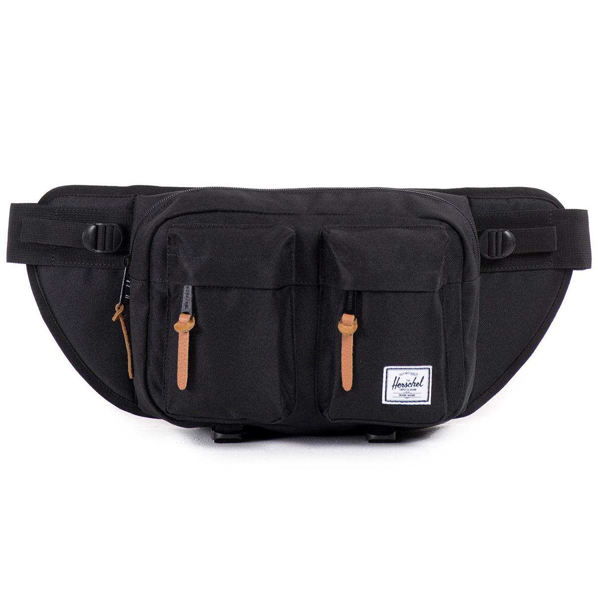 Сумка на пояс Herschel Eighteen (A/S), цвет: черный. 828432006830ГризлиВместительная поясная сумка с двумя внешними карманами. Эта модель отличается своим объемом, за счет которого Вы всегда сможете взять собой чуть больше нужных вещей. Удобный поясной ремень позволяет носить сумку также через плечо, что несомненно оценят, например, любители велосипедных прогулок.