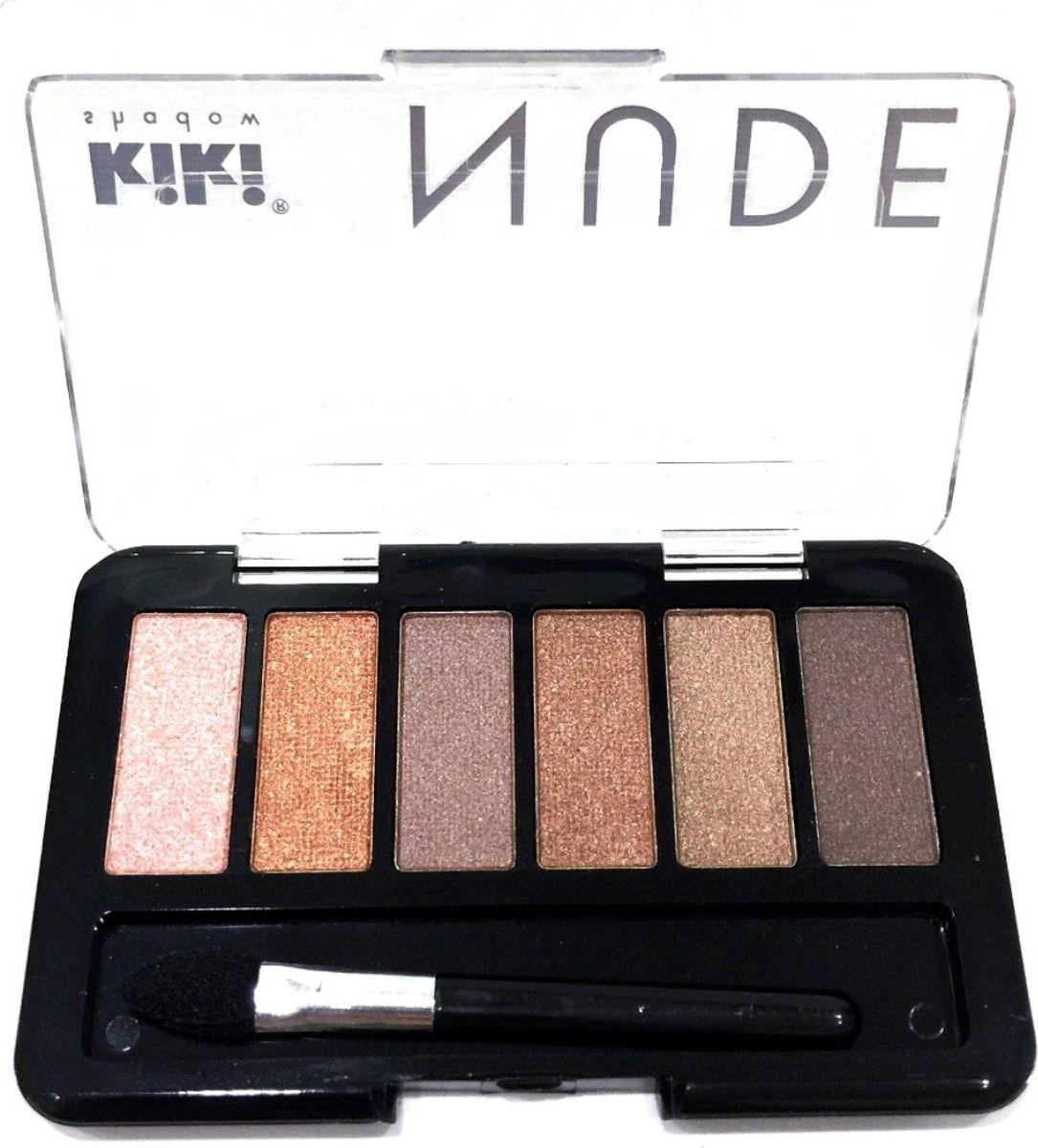 Kiki Тени для век shadow Nude 902, 2.76 гр118400000Шесть идеально подобранных оттенков в нюдовых тонах не оставят вас равнодушными. Тени обладают нежной, хорошо поддающейся растушевке текстурой. Благодаря удобному аппликатору макияж можно создавать буквально на ходу.