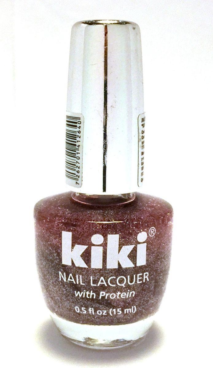 Kiki Лак для ногтей Silver c блестками 264, 15 мл13001264Коллекция лаков KIKI Silver позволяет создавать как повседневный, так и вечерний маникюр. Широкая гамма цветов и игра фактур, в том числе различные визуальные эффекты (хамелеон, металлический блеск, блестки, перламутр). Входящий в состав протеин ухаживает за ногтями, укрепляя их и предотвращая растрескивания. Удобная кисточка равномерно распределяет лак по поверхности ногтя, не оставляя подтеков и разводов.