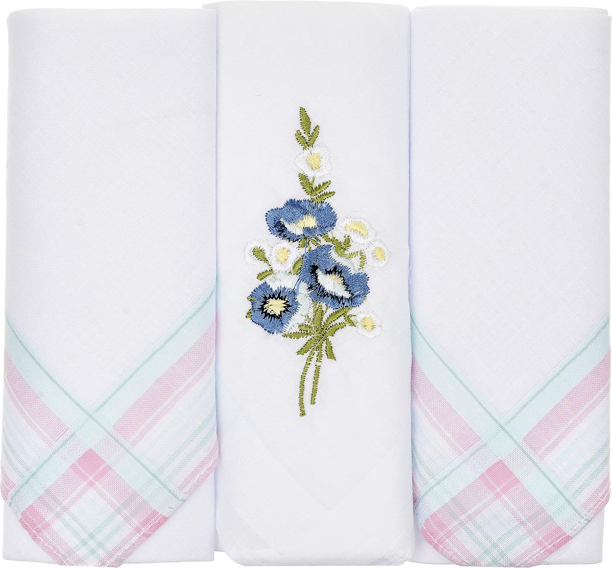 Платок носовой женский Zlata Korunka, цвет: белый, 3 шт. 90329-39. Размер 29 см х 29 см39864 Серьги с подвескамиНебольшой женский носовой платок Zlata Korunka изготовлен из высококачественного натурального хлопка, благодаря чему приятен в использовании, хорошо стирается, не садится и отлично впитывает влагу. Практичный и изящный носовой платок будет незаменим в повседневной жизни любого современного человека. Такой платок послужит стильным аксессуаром и подчеркнет ваше превосходное чувство вкуса.В комплекте 3 платка.