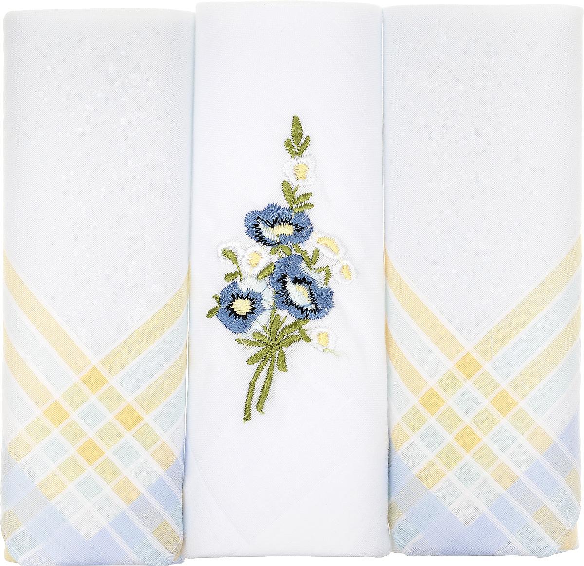 Платок носовой женский Zlata Korunka, цвет: белый, светло-голубой, желтый, 3 шт. 90329-47. Размер 29 см х 29 смАжурная брошьНебольшой женский носовой платок Zlata Korunka изготовлен из высококачественного натурального хлопка, благодаря чему приятен в использовании, хорошо стирается, не садится и отлично впитывает влагу. Практичный и изящный носовой платок будет незаменим в повседневной жизни любого современного человека. Такой платок послужит стильным аксессуаром и подчеркнет ваше превосходное чувство вкуса.В комплекте 3 платка.