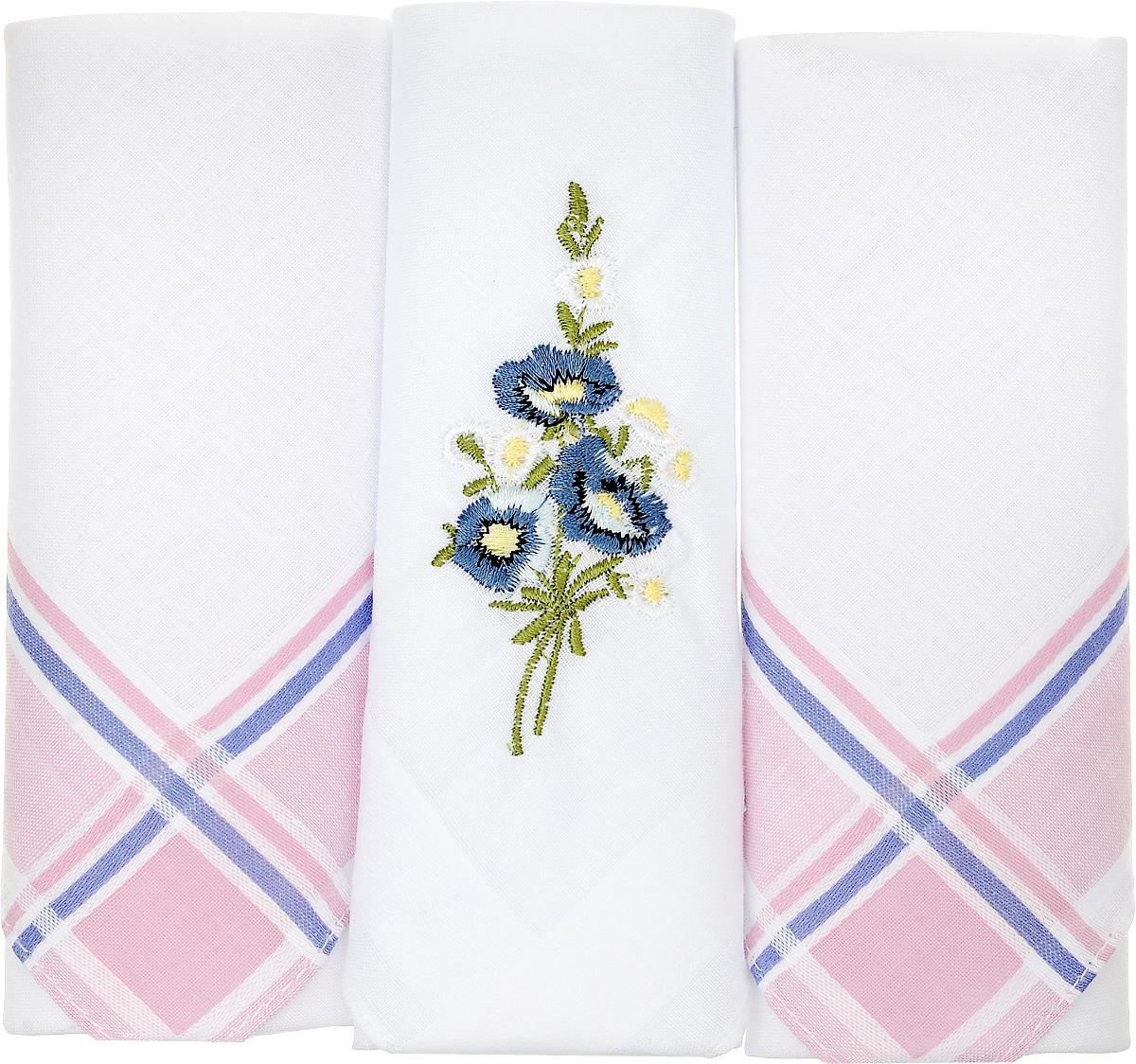 Платок носовой женский Zlata Korunka, цвет: белый, розовый, синий. 90329-49. Размер 29 х 29 см, 3 шт39864|Серьги с подвескамиНосовой платок Zlata Korunka изготовлен из высококачественного натурального хлопка, благодаря чему приятен в использовании, хорошо стирается, не садится и отлично впитывает влагу. Практичный и изящный носовой платок будет незаменим в повседневной жизни любого современного человека. Такой платок послужит стильным аксессуаром и подчеркнет ваше превосходное чувство вкуса.В комплекте 3 платка.