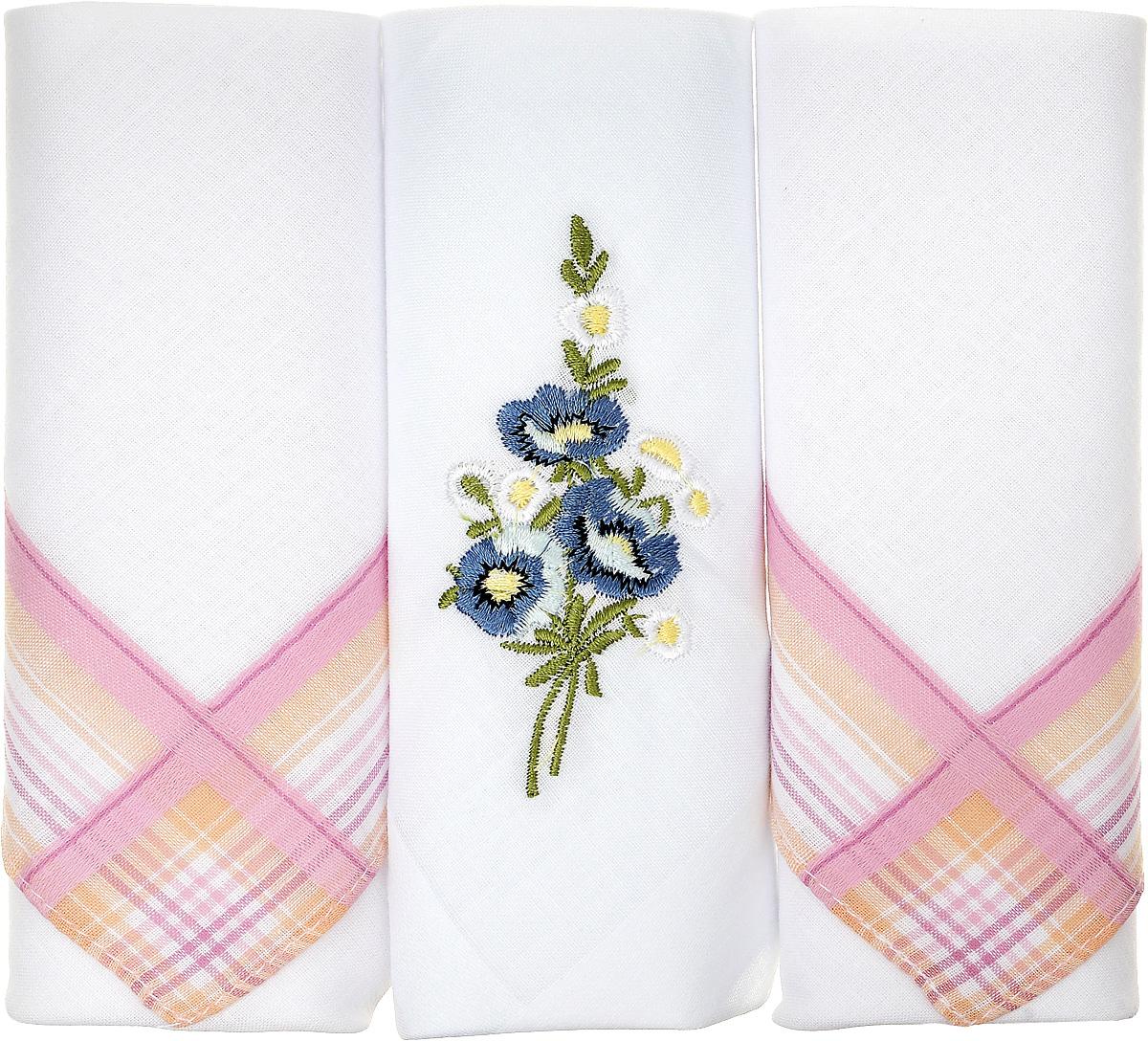 Платок носовой женский Zlata Korunka, цвет: белый, розовый, 3 шт. 90329-38. Размер 29 см х 29 см39864|Серьги с подвескамиНебольшой женский носовой платок Zlata Korunka изготовлен из высококачественного натурального хлопка, благодаря чему приятен в использовании, хорошо стирается, не садится и отлично впитывает влагу. Практичный и изящный носовой платок будет незаменим в повседневной жизни любого современного человека. Такой платок послужит стильным аксессуаром и подчеркнет ваше превосходное чувство вкуса.В комплекте 3 платка.