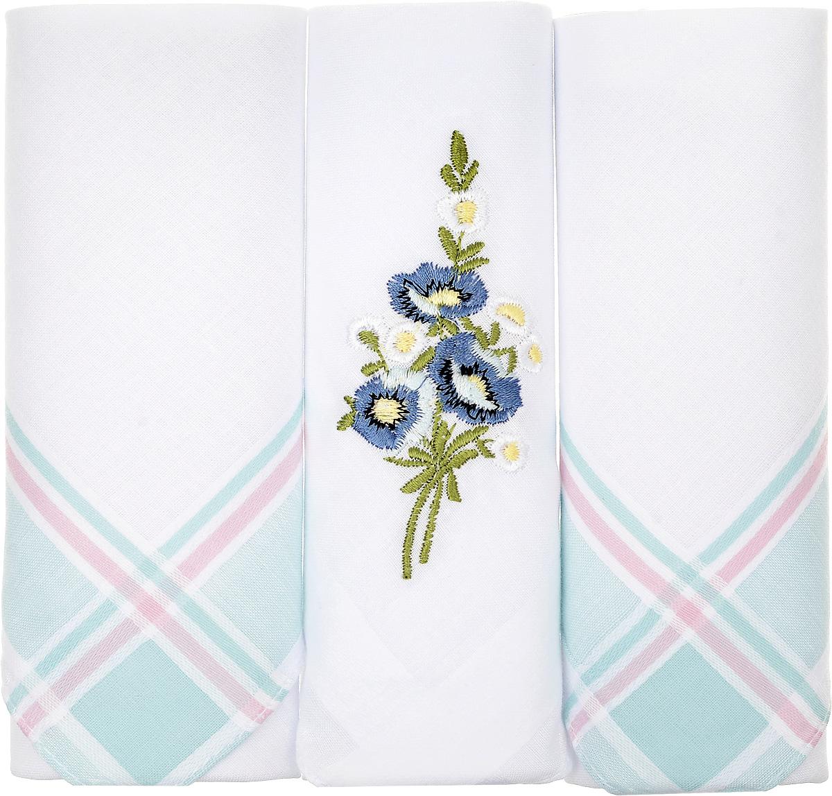 Платок носовой женский Zlata Korunka, цвет: белый, мятный, 3 шт. 90329-48. Размер 29 см х 29 смАжурная брошьНебольшой женский носовой платок Zlata Korunka изготовлен из высококачественного натурального хлопка, благодаря чему приятен в использовании, хорошо стирается, не садится и отлично впитывает влагу. Практичный и изящный носовой платок будет незаменим в повседневной жизни любого современного человека. Такой платок послужит стильным аксессуаром и подчеркнет ваше превосходное чувство вкуса.В комплекте 3 платка.