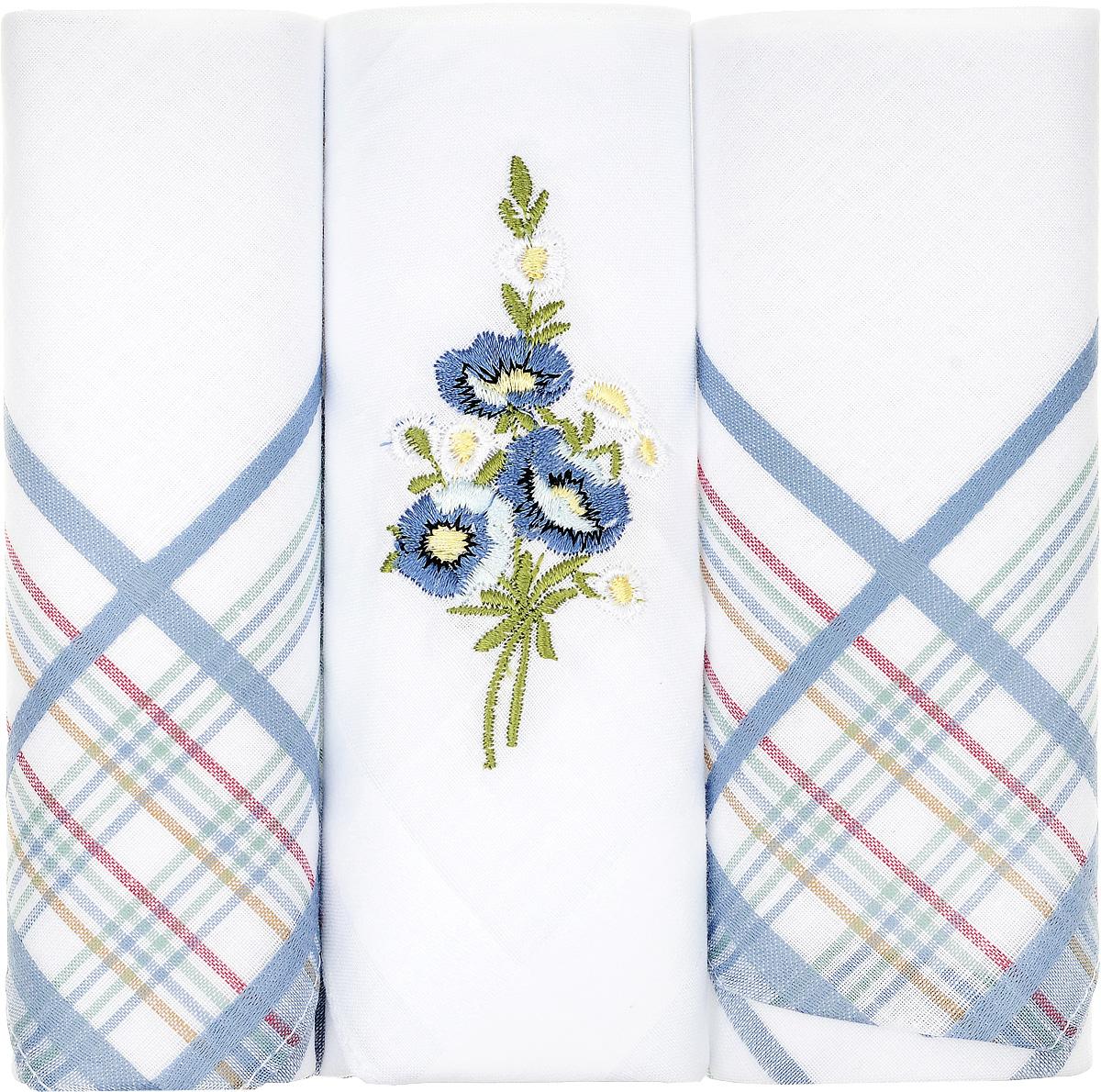 Платок носовой женский Zlata Korunka, цвет: белый, синий, 3 шт. 90329-51. Размер 29 см х 29 смАжурная брошьНебольшой женский носовой платок Zlata Korunka изготовлен из высококачественного натурального хлопка, благодаря чему приятен в использовании, хорошо стирается, не садится и отлично впитывает влагу. Практичный и изящный носовой платок будет незаменим в повседневной жизни любого современного человека. Такой платок послужит стильным аксессуаром и подчеркнет ваше превосходное чувство вкуса.В комплекте 3 платка.