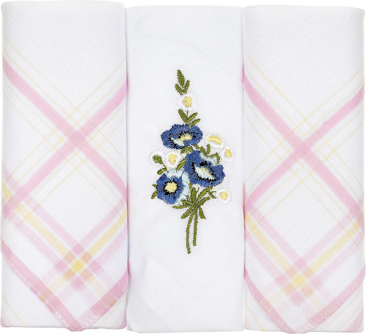 Платок носовой женский Zlata Korunka, цвет: белый, розовый, 3 шт. 90329-43. Размер 29 см х 29 см39864|Серьги с подвескамиНебольшой женский носовой платок Zlata Korunka изготовлен из высококачественного натурального хлопка, благодаря чему приятен в использовании, хорошо стирается, не садится и отлично впитывает влагу. Практичный и изящный носовой платок будет незаменим в повседневной жизни любого современного человека. Такой платок послужит стильным аксессуаром и подчеркнет ваше превосходное чувство вкуса.В комплекте 3 платка.