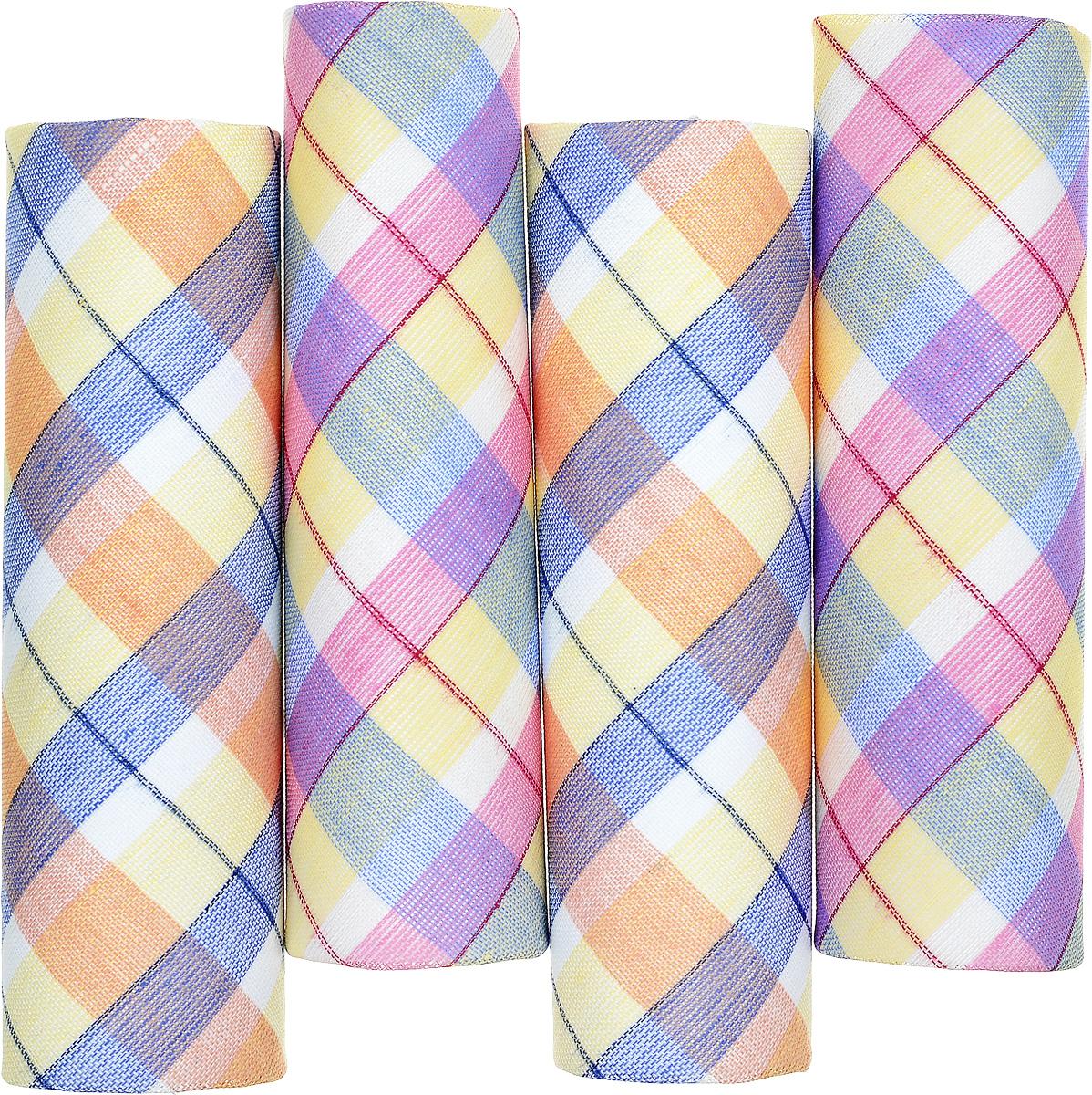 Платок носовой женский Zlata Korunka, цвет: желтый, розовый, голубой. 71420-16. Размер 29 х 29 см, 4 шт39864|Серьги с подвескамиНосовой платок Zlata Korunka изготовлен из высококачественного натурального хлопка, благодаря чему приятен в использовании, хорошо стирается, не садится и отлично впитывает влагу. Практичный и изящный носовой платок будет незаменим в повседневной жизни любого современного человека. Такой платок послужит стильным аксессуаром и подчеркнет ваше превосходное чувство вкуса.В комплекте 4 платка.