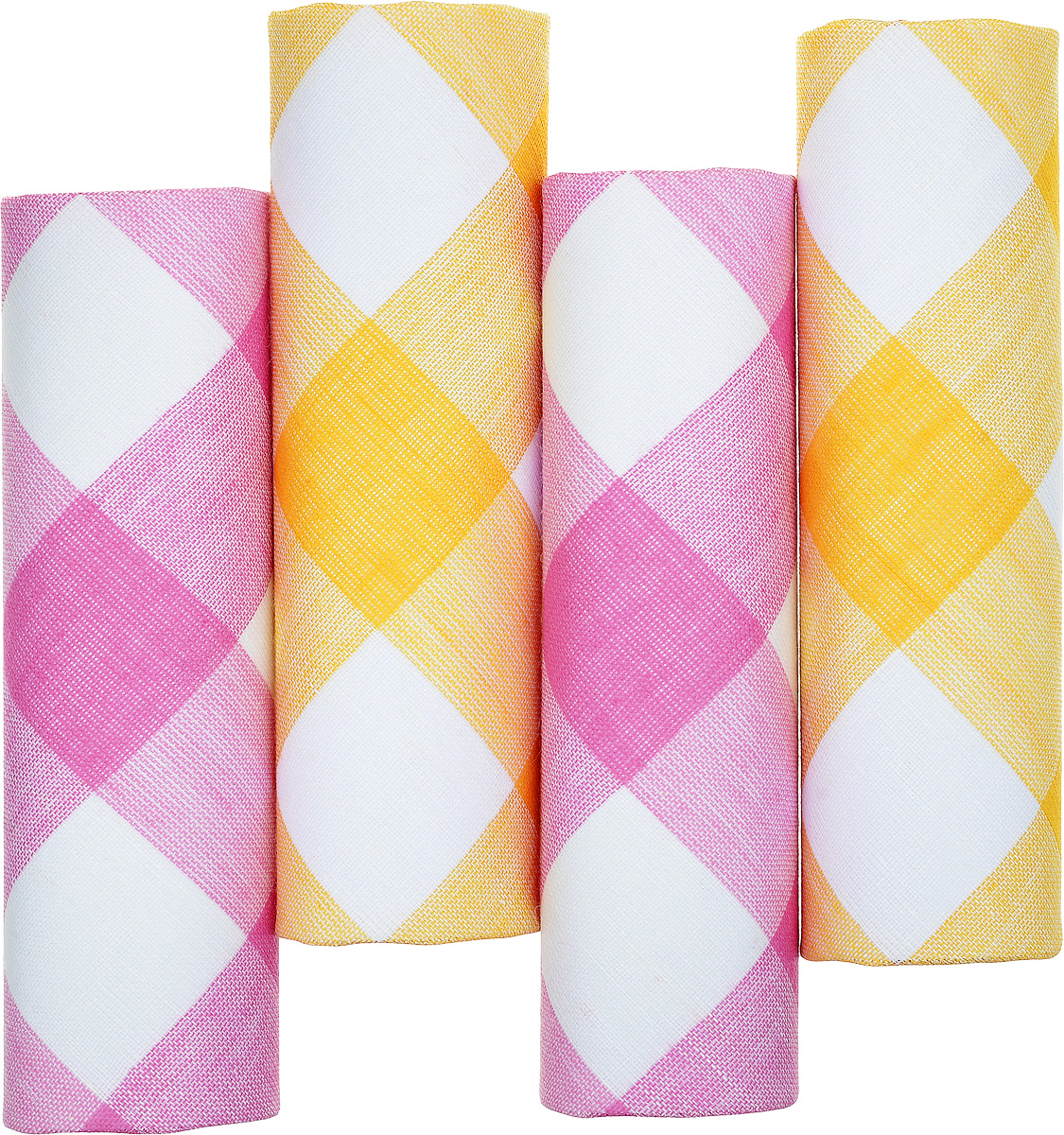 Платок носовой женский Zlata Korunka, цвет: белый, розовый, желтый. 71420-8. Размер 29 х 29 см, 4 штГлидерный браслетНосовой платок Zlata Korunka изготовлен из высококачественного натурального хлопка, благодаря чему приятен в использовании, хорошо стирается, не садится и отлично впитывает влагу. Практичный и изящный носовой платок будет незаменим в повседневной жизни любого современного человека. Такой платок послужит стильным аксессуаром и подчеркнет ваше превосходное чувство вкуса.В комплекте 4 платка.