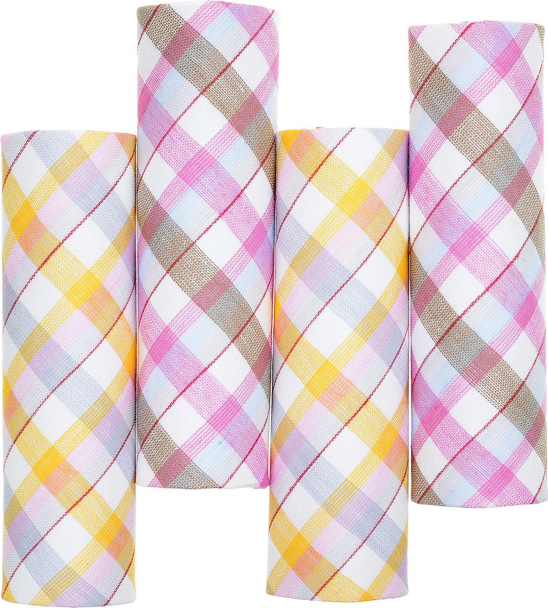 Платок носовой женский Zlata Korunka, цвет: белый, желтый, коричневый. 71420-16. Размер 29 х 29 см, 4 штСерьги с подвескамиНосовой платок Zlata Korunka изготовлен из высококачественного натурального хлопка, благодаря чему приятен в использовании, хорошо стирается, не садится и отлично впитывает влагу. Практичный и изящный носовой платок будет незаменим в повседневной жизни любого современного человека. Такой платок послужит стильным аксессуаром и подчеркнет ваше превосходное чувство вкуса.В комплекте 4 платка.