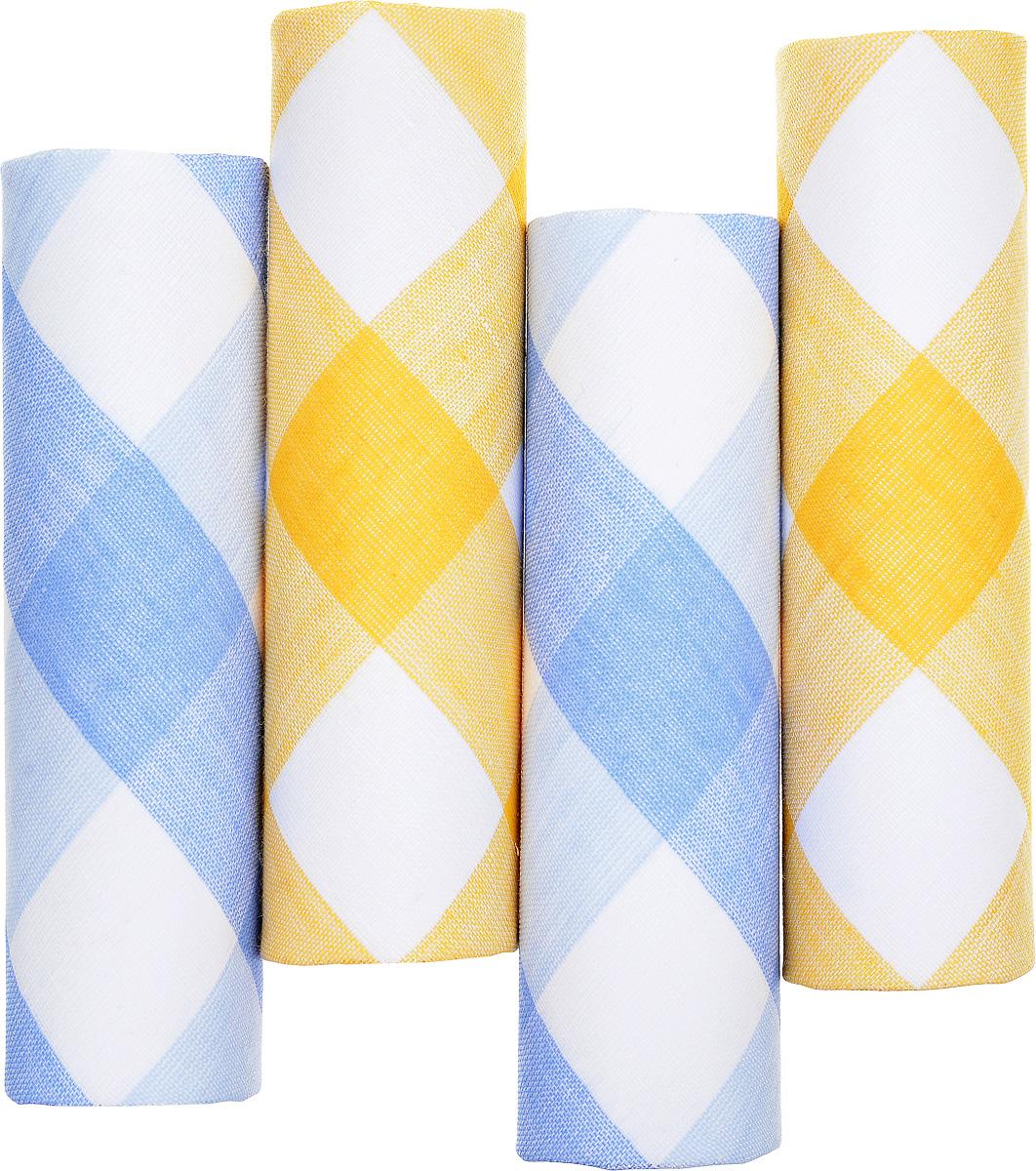 Платок носовой женский Zlata Korunka, цвет: белый, желтый, голубой. 71420-16. Размер 29 х 29 см, 4 шт39864|Серьги с подвескамиНосовой платок Zlata Korunka изготовлен из высококачественного натурального хлопка, благодаря чему приятен в использовании, хорошо стирается, не садится и отлично впитывает влагу. Практичный и изящный носовой платок будет незаменим в повседневной жизни любого современного человека. Такой платок послужит стильным аксессуаром и подчеркнет ваше превосходное чувство вкуса.В комплекте 4 платка.