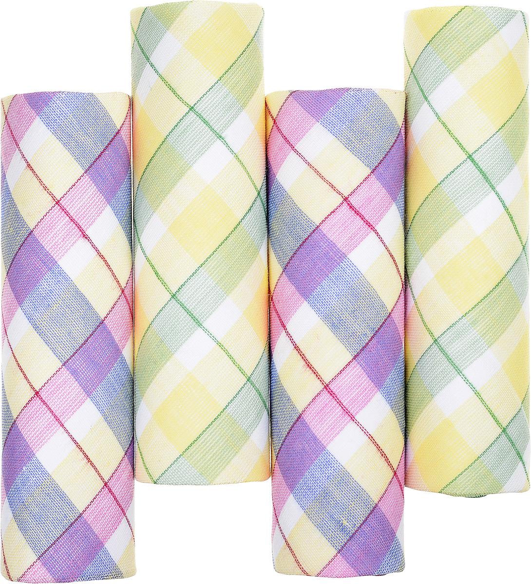 Платок носовой женский Zlata Korunka, цвет: желтый, зеленый, розовый. 71420-16. Размер 29 х 29 см, 4 шт39864 Серьги с подвескамиНосовой платок Zlata Korunka изготовлен из высококачественного натурального хлопка, благодаря чему приятен в использовании, хорошо стирается, не садится и отлично впитывает влагу. Практичный и изящный носовой платок будет незаменим в повседневной жизни любого современного человека. Такой платок послужит стильным аксессуаром и подчеркнет ваше превосходное чувство вкуса.В комплекте 4 платка.