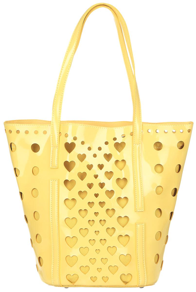 Сумка женская Vittorio Richi, цвет: желтый. 9131188-2Сумка из экокожи с перфорацией. Внутри текстильный мешок на затяжках. Высота ручек 21см.