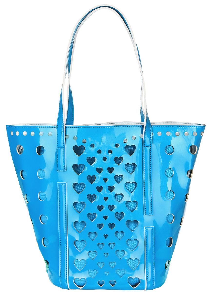 Сумка женская Vittorio Richi, цвет: голубой. 913118BM8434-58AEСумка из экокожи с перфорацией. Внутри текстильный мешок на затяжках. Высота ручек 21см.