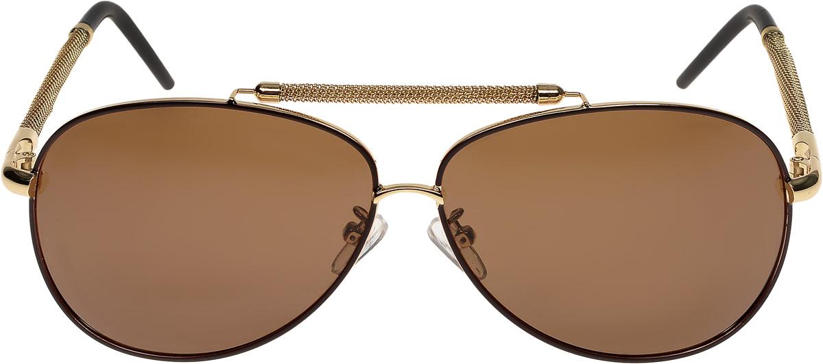 Очки солнцезащитные мужские Vittorio Richi, цвет: золотистый, коричневый. ОС80061-6/17fBM8434-58AEОчки солнцезащитные Vittorio Richi это знаменитое итальянское качество и традиционно изысканный дизайн.