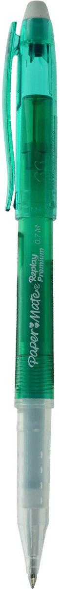 Paper Mate Ручка гелевая Replay Premium со стираемыми чернилами и ластиком цвет чернил зеленый1901325Ручка с гелевыми стираемыми чернилами Replay Premium.С ластиком, цвет чернил - зеленый.