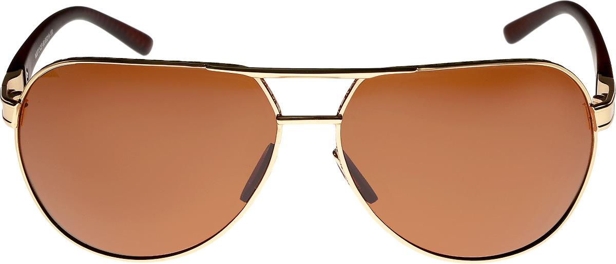 Очки солнцезащитные мужские Vita Pelle, цвет: золотистый, коричневый. ОС0712c37-90/17fINT-06501Очки солнцезащитные Vita Pelle это знаменитое итальянское качество и традиционно изысканный дизайн.
