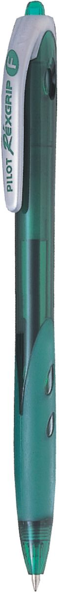 Pilot Ручка шариковая Rexgrip цвет чернил зеленый 0,7 мм2010440Автоматическая шариковая ручка с интегрированным в корпус прорезиненным захватом для пальцев. Чернила на масляной основе для мягкого и легкого письма. Наконечник стержня изготовлен из нержавеющей стали, а шарик - из карбида вольфрама. Пластиковый корпус тонирован в цвет чернил ручки.