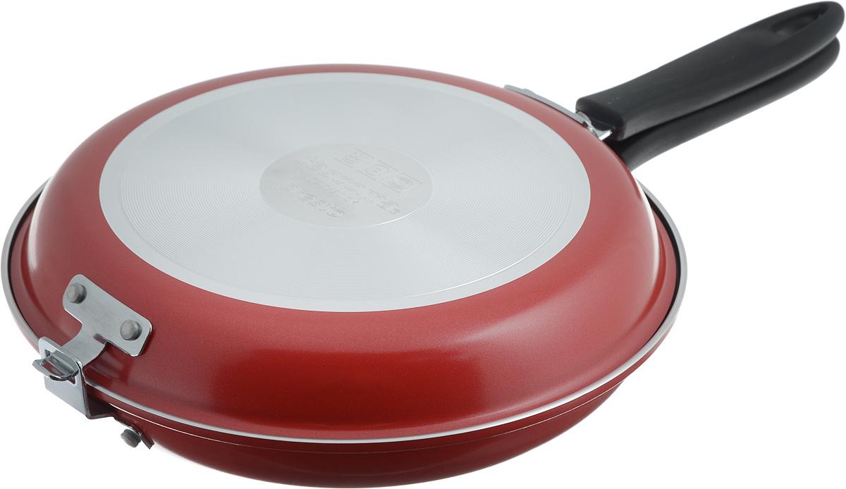 Сковорода двухсторонняя Tescoma Presto, цвет: красный, стальной. Диаметр 26см. 5943467828BHNEW_салатовыйВысококачественная сковорода Tescoma Presto состоящая из двух частей, изготовлена из высококачественной нержавеющей стали с антипригарным покрытием. Сковорода идеальна для легкой и быстрой двухсторонней жарки и тушения продуктов. Прекрасно подходит для приготовления высоких омлетов типа тортилья, фриттата, фаршированных карманов, овощных и рисовых блюд и так далее. Снабжена ненагревающейся ручкой. Изделие можно использовать как две отдельные классические сковородки.В комплекте предоставлена брошюра с рецептами.Подходит для электрических, газовых и стеклокерамических плит. Можно мыть в посудомоечной машине.Диаметр нижней сковороды (по верхнему краю): 26 см. Диаметр верхней сковороды (по верхнему краю): 25 см.Высота стенки нижней сковороды: 4,5 см.Высота стенки верхней сковороды: 3,5 см.Общая высота двухсторонней сковороды: 7,5 см.Диаметр дна: 17 см.
