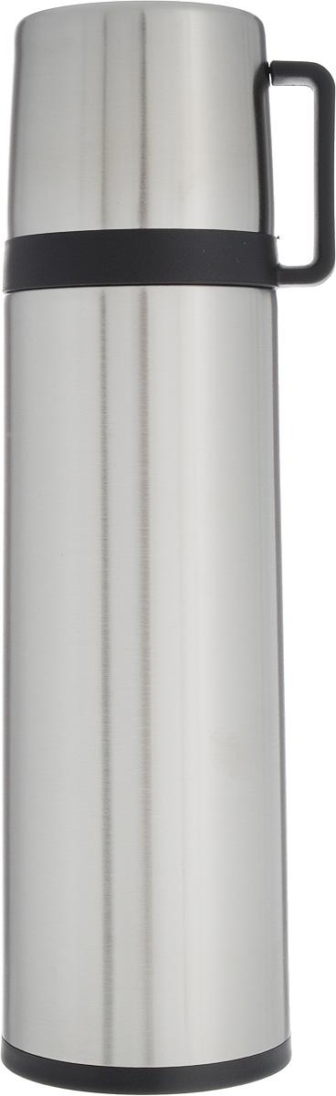 Термос Tescoma Constant, с крышкой-кружкой, цвет: стальной, черный, 0,7 л115510Термос Tescoma Constant - это вакуумный термос с двойной колбой из высококачественной нержавеющей стали. Термос сохраняет напитки горячими и холодными на протяжении длительного времени. Оснащен крышкой и пробкой с кнопкой для удобного розлива без снижения температуры. Термос Tescoma Constant прекрасно подходит для дома, офиса и для путешествий. Сохранение температуры в термосе зависит от количества и температуры напитка, от частоты его открывания и от температуры воздуха.Крышка может использоваться как кружка.Диаметр термоса по верхнему краю: 5,2 см.Диаметр дна: 7,8 см.Высота термоса с учетом крышки: 28,5 см.