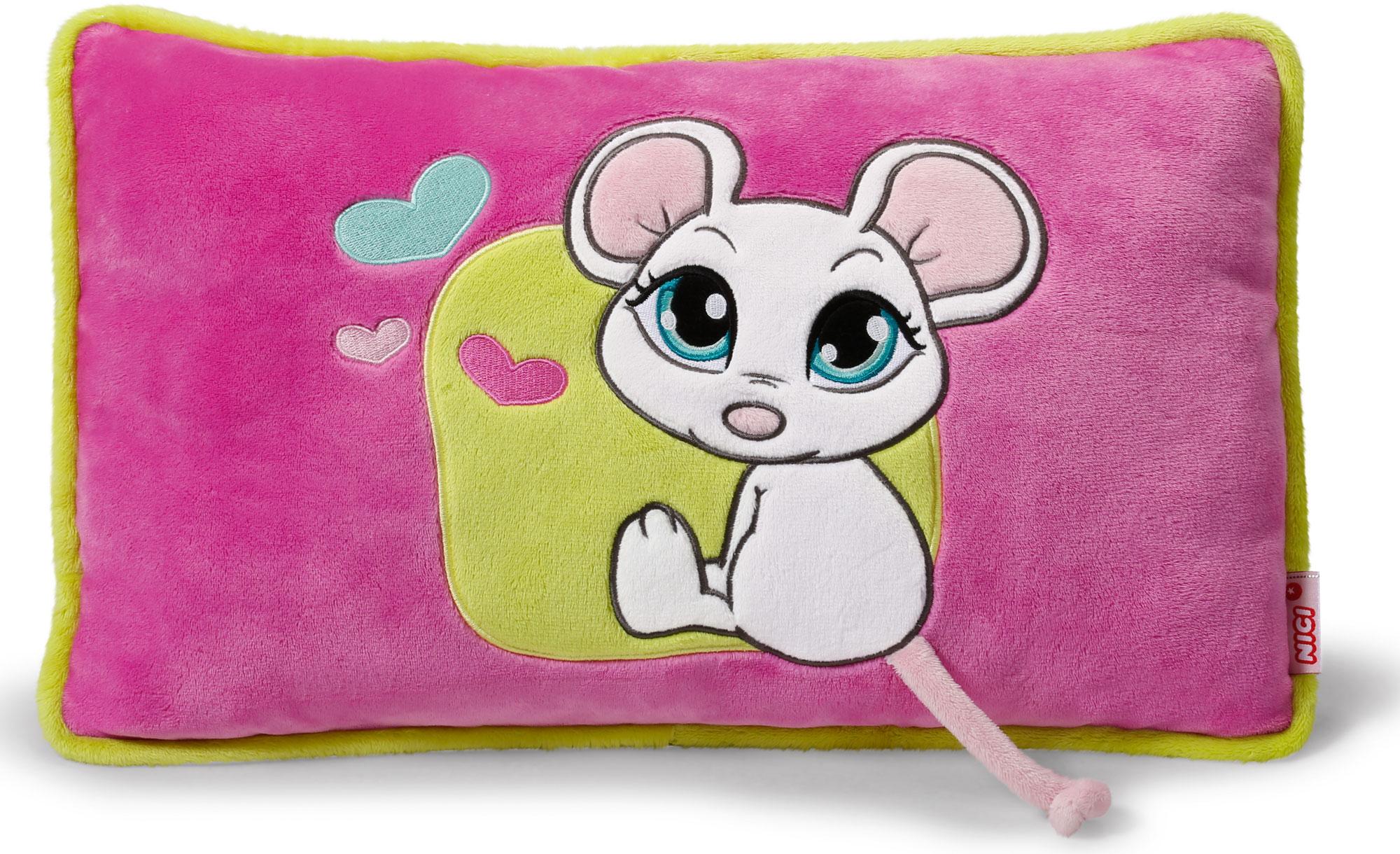Nici Подушка Мышка белая 43 х 25 см37779Мягкая подушка Nici Мышка белая не оставит равнодушным вашего ребенка.Мягкая и приятная на ощупь подушка прямоугольной формы выполнена из полиэстера с мягкой набивкой и оформлена вышитой аппликацией в виде симпатичной белой мышки. Подушка удивительно приятна на ощупь. Необычайно мягкая, она принесет радость и подарит своему обладателю мгновения нежных объятий и приятных воспоминаний.Такая подушка станет отличным аксессуаром для детской комнаты.