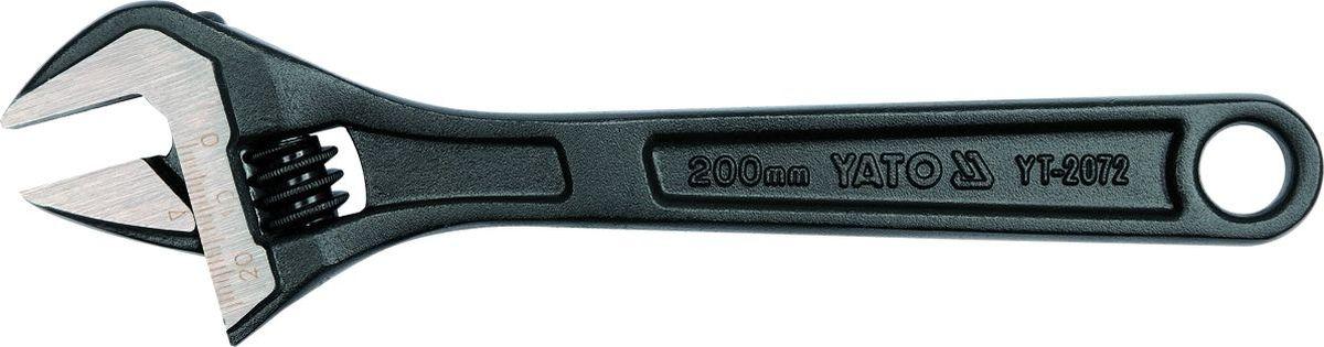 Ключ разводной Yato, 8CA-3505Ключ разводной YATO 8, длина 200 мм, максимальный развод губок - 24 мм. Изготовлен из углеродистой стали