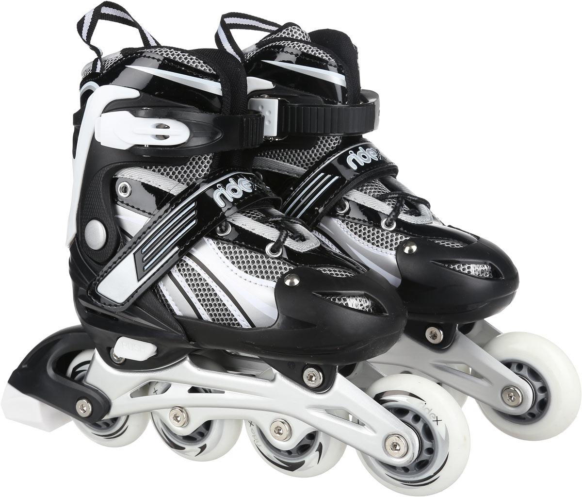 Коньки роликовые Ridex Apache, раздвижные, цвет: черный, серый, белый. УТ-00008105. Размер 38/41