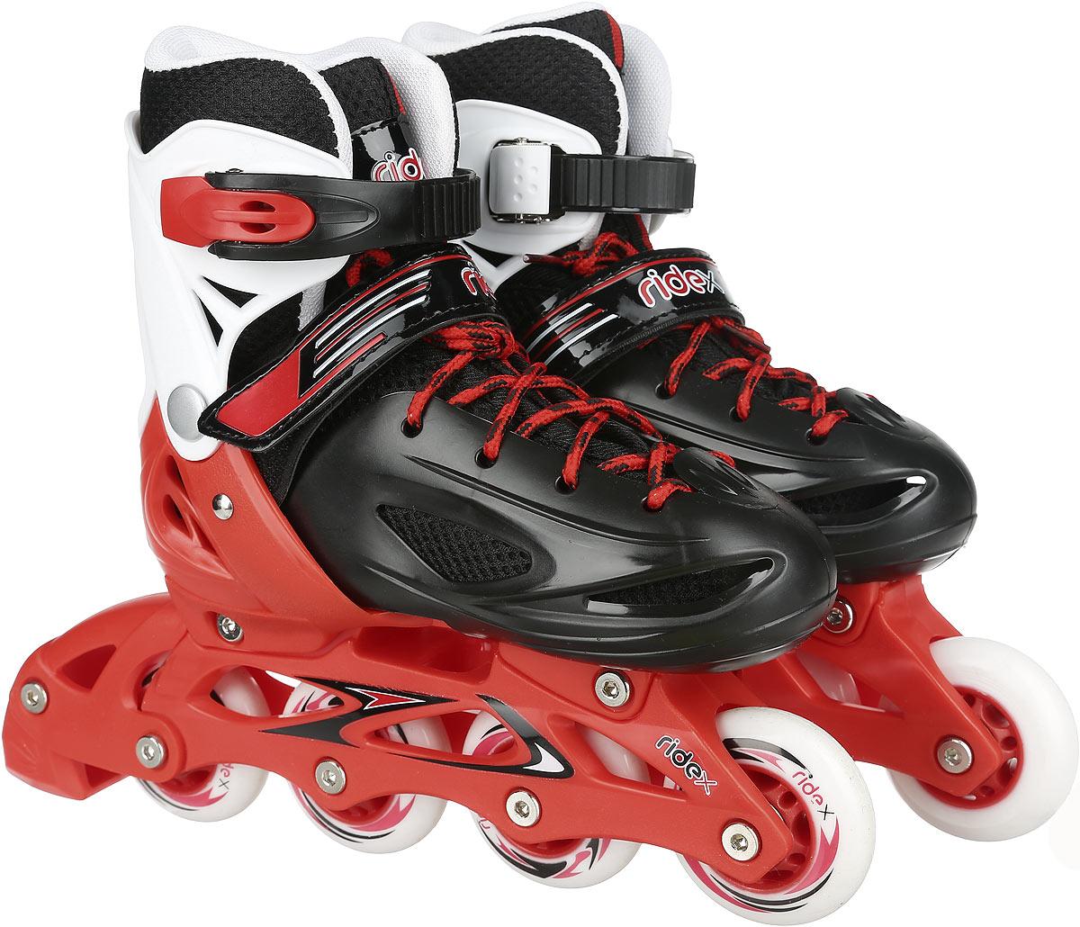 Коньки роликовые Ridex Rocky, раздвижные, цвет: черный, красный, белый. УТ-00008098. Размер 34/37 - Ролики
