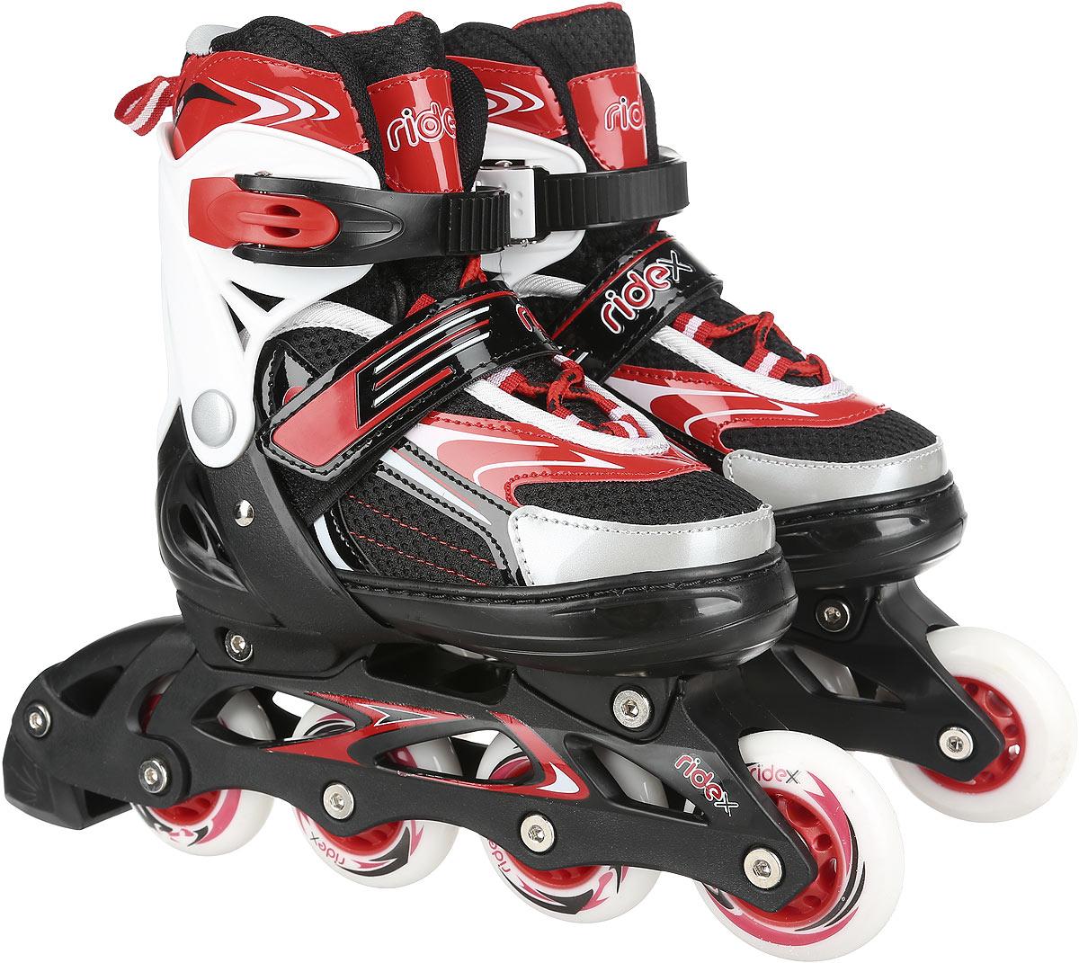 Коньки роликовые Ridex Target, раздвижные, цвет: черный, белый, красный. УТ-00008100. Размер 30/33 - Ролики
