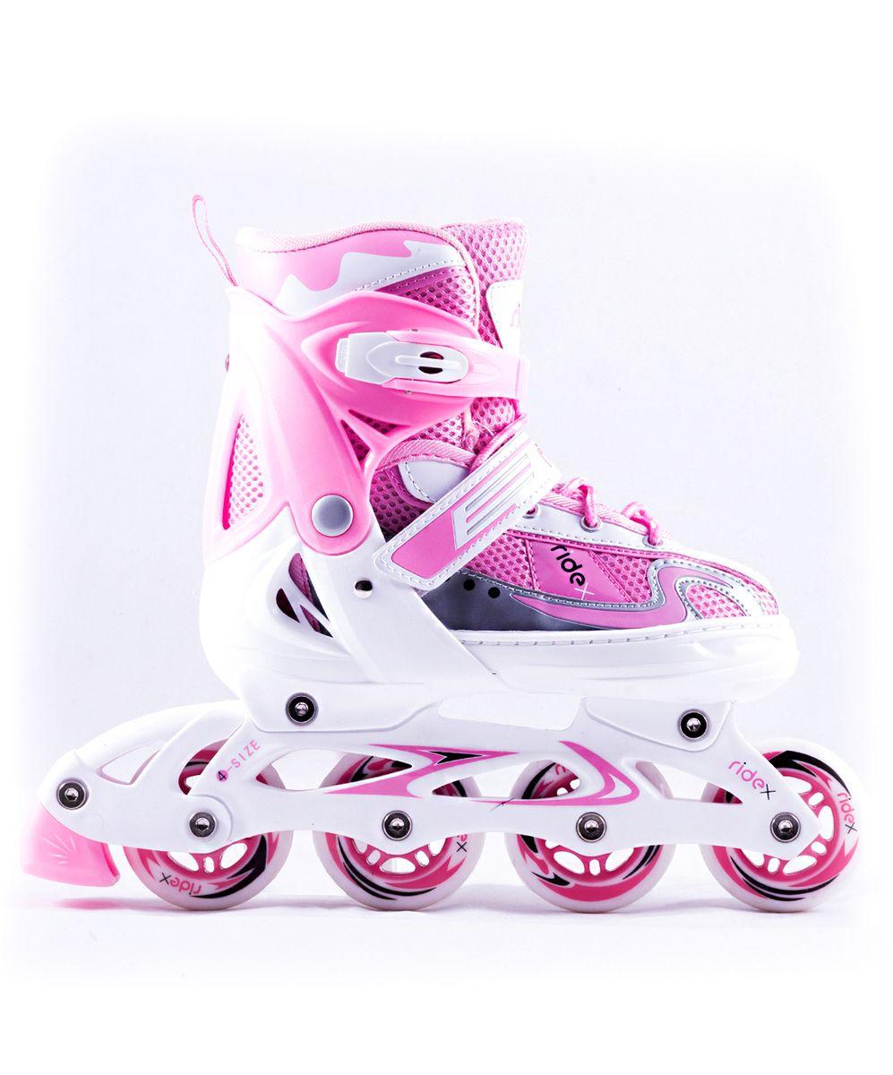 Коньки роликовые Ridex Cloudy, раздвижные, цвет: белый, розовый. УТ-00008101. Размер 34/37