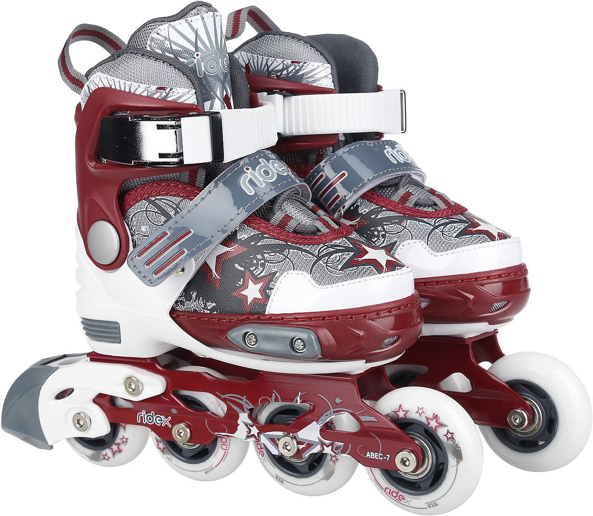 Коньки роликовые Ridex Tornado, раздвижные, цвет: белый, бордовый, серый. УТ-00008114. Размер 34/37 - Ролики